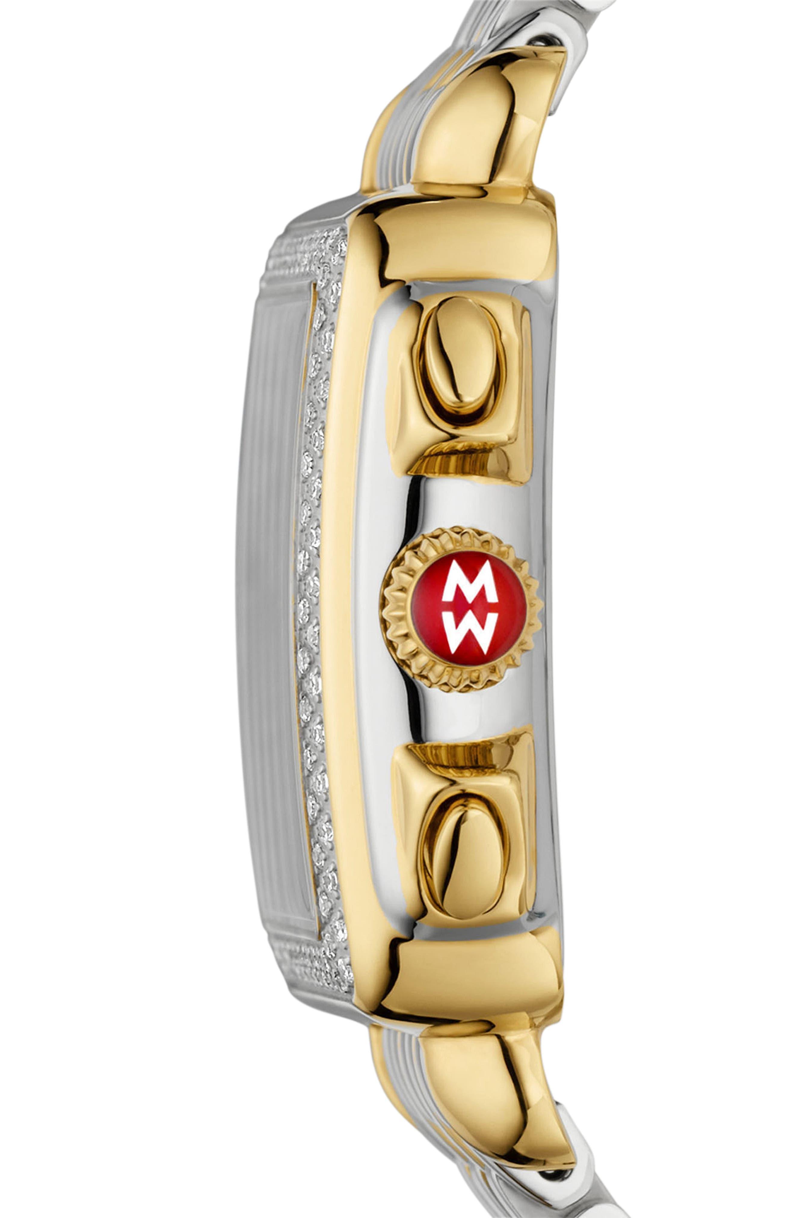 MICHELE, Deco Diamond Diamond Dial Watch Head, 33mm x 35mm, Alternate thumbnail 3, color, GOLD/ SILVER/ DESERT ROSE MOP