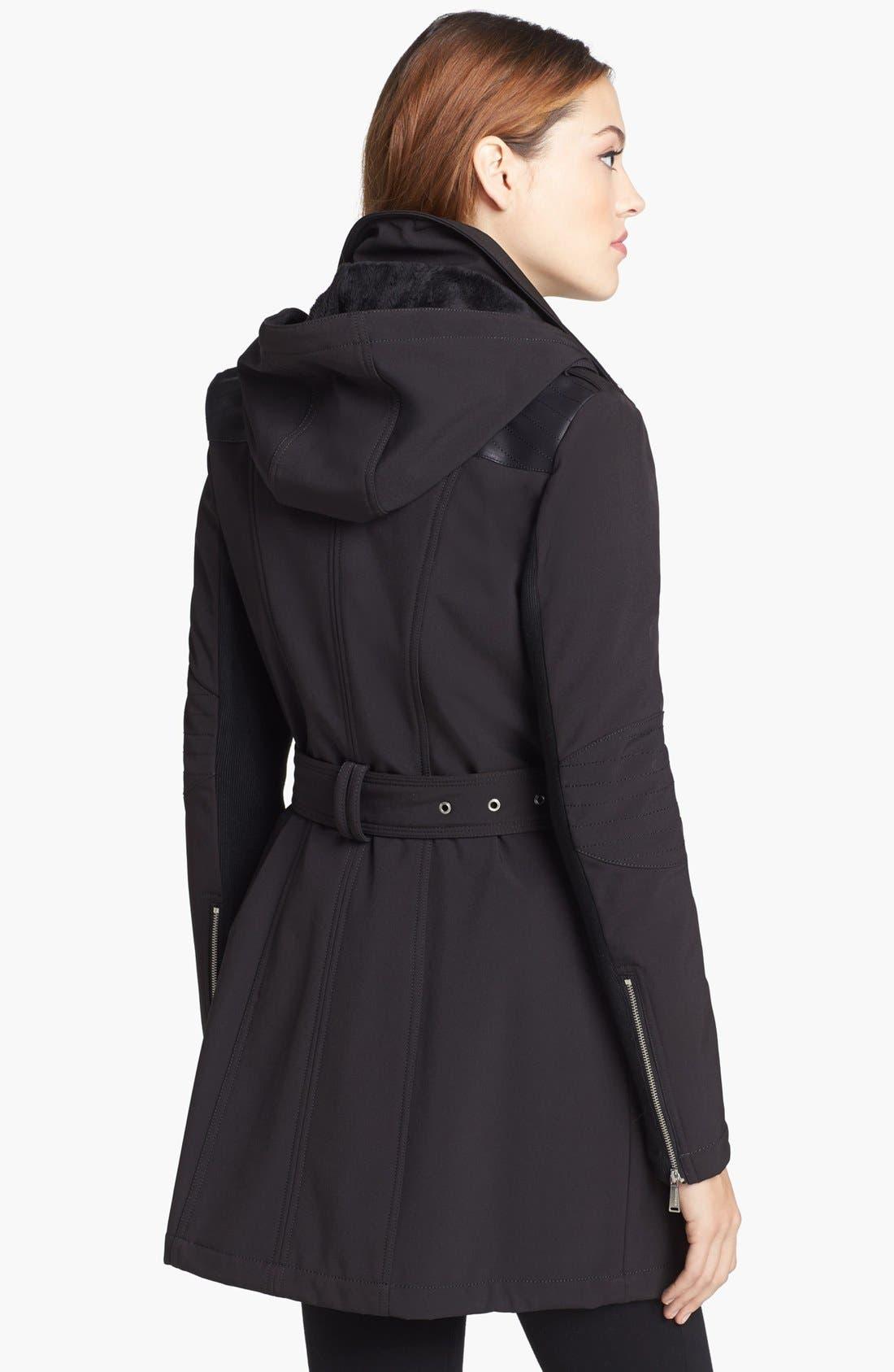 BCBGENERATION, Asymmetrical Belted Softshell Jacket, Alternate thumbnail 4, color, 001