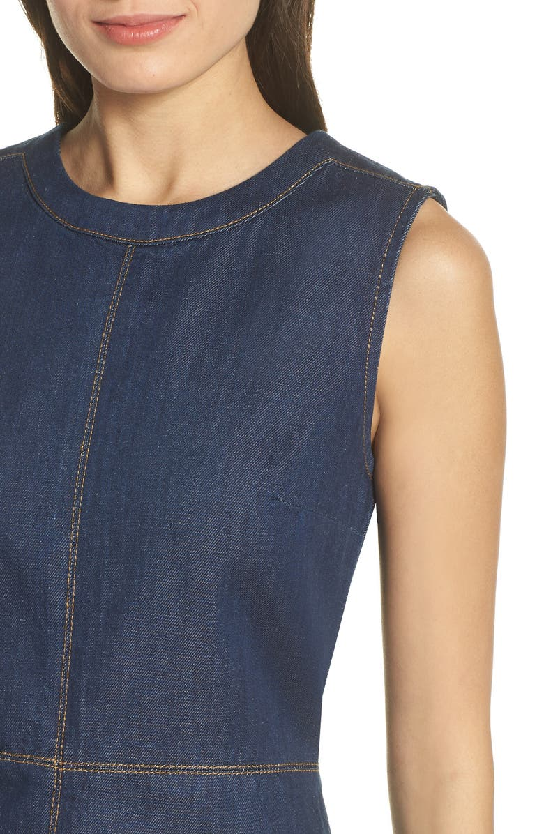 4e42078f595 French Connection Linaira Contrast Stitch Denim Minidress In Rinse Blue
