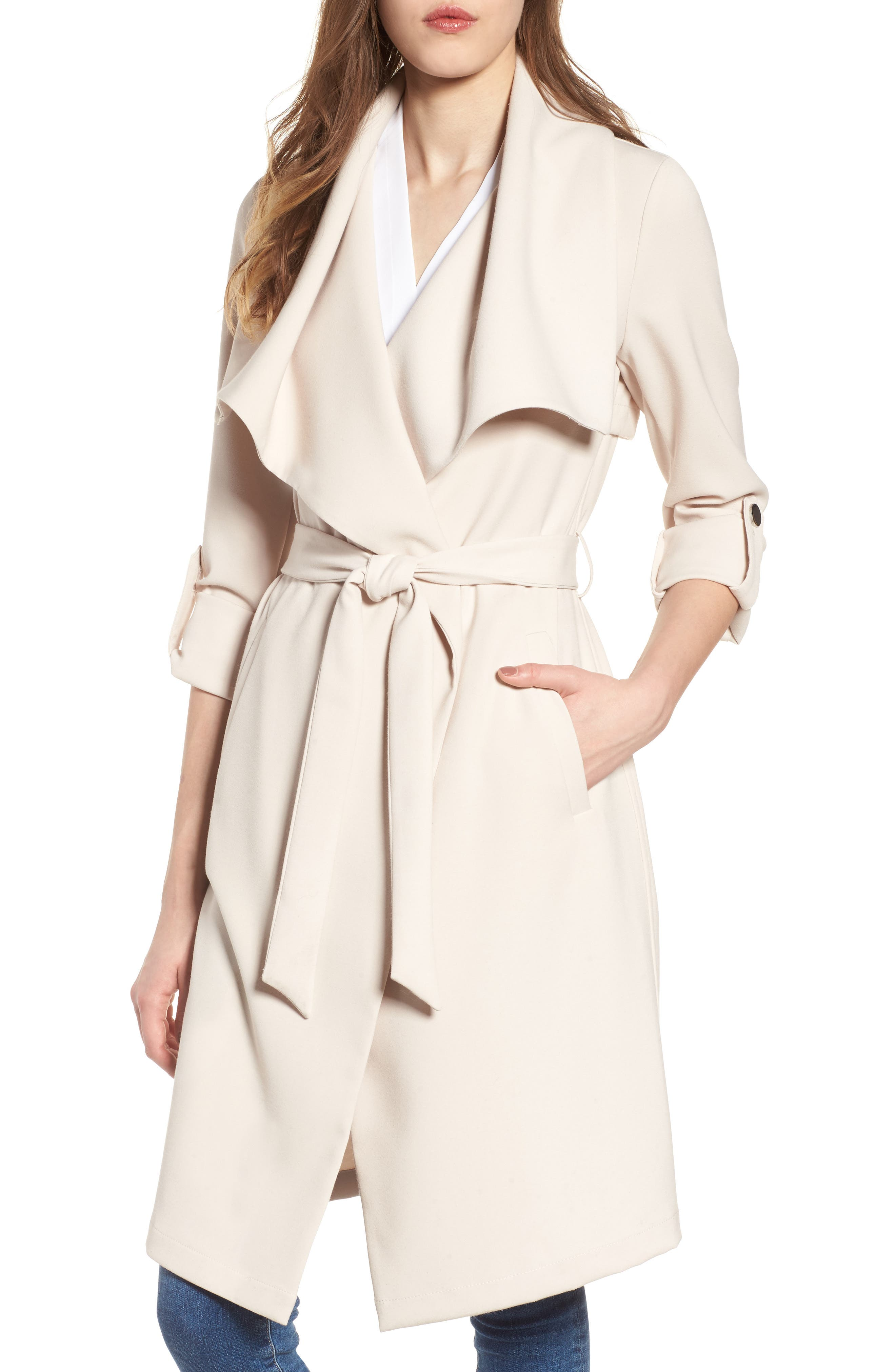 SOIA & KYO Roll Sleeve Drape Front Long Trench Coat, Main, color, 277