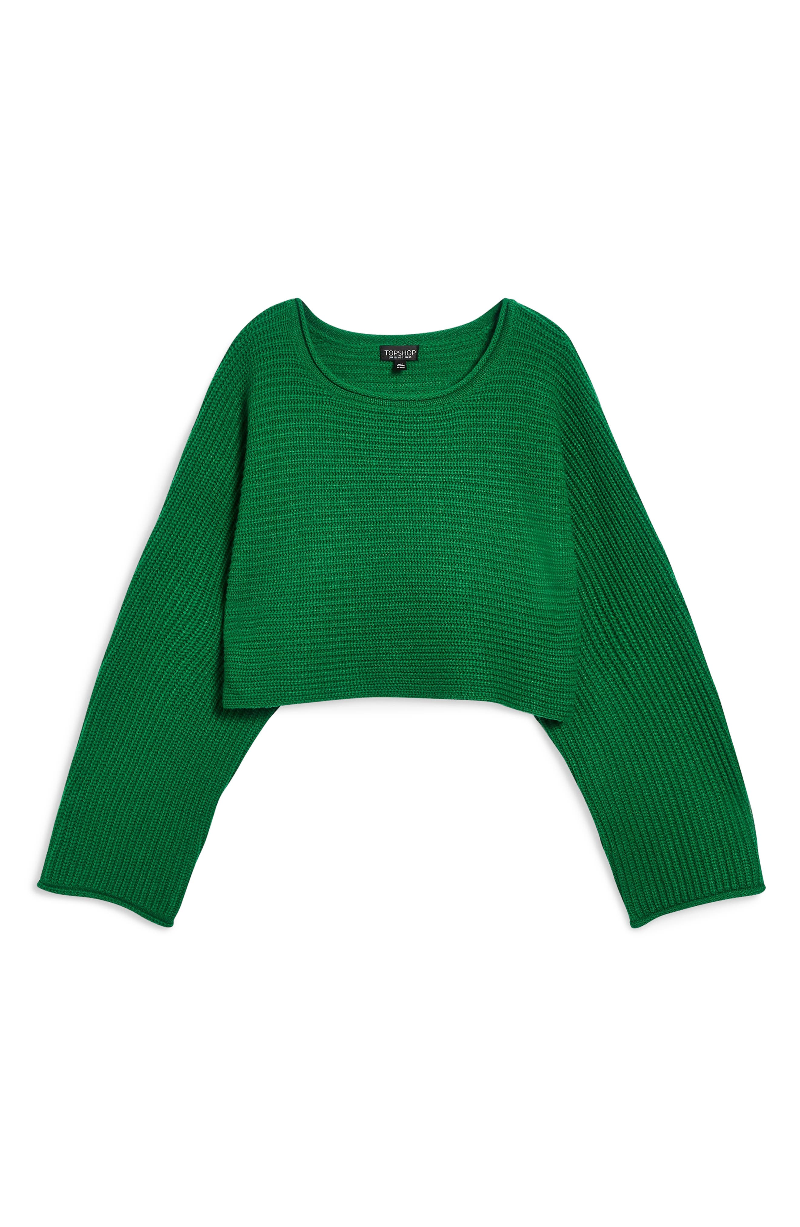 TOPSHOP, Roll Edge Crop Sweater, Alternate thumbnail 4, color, 300