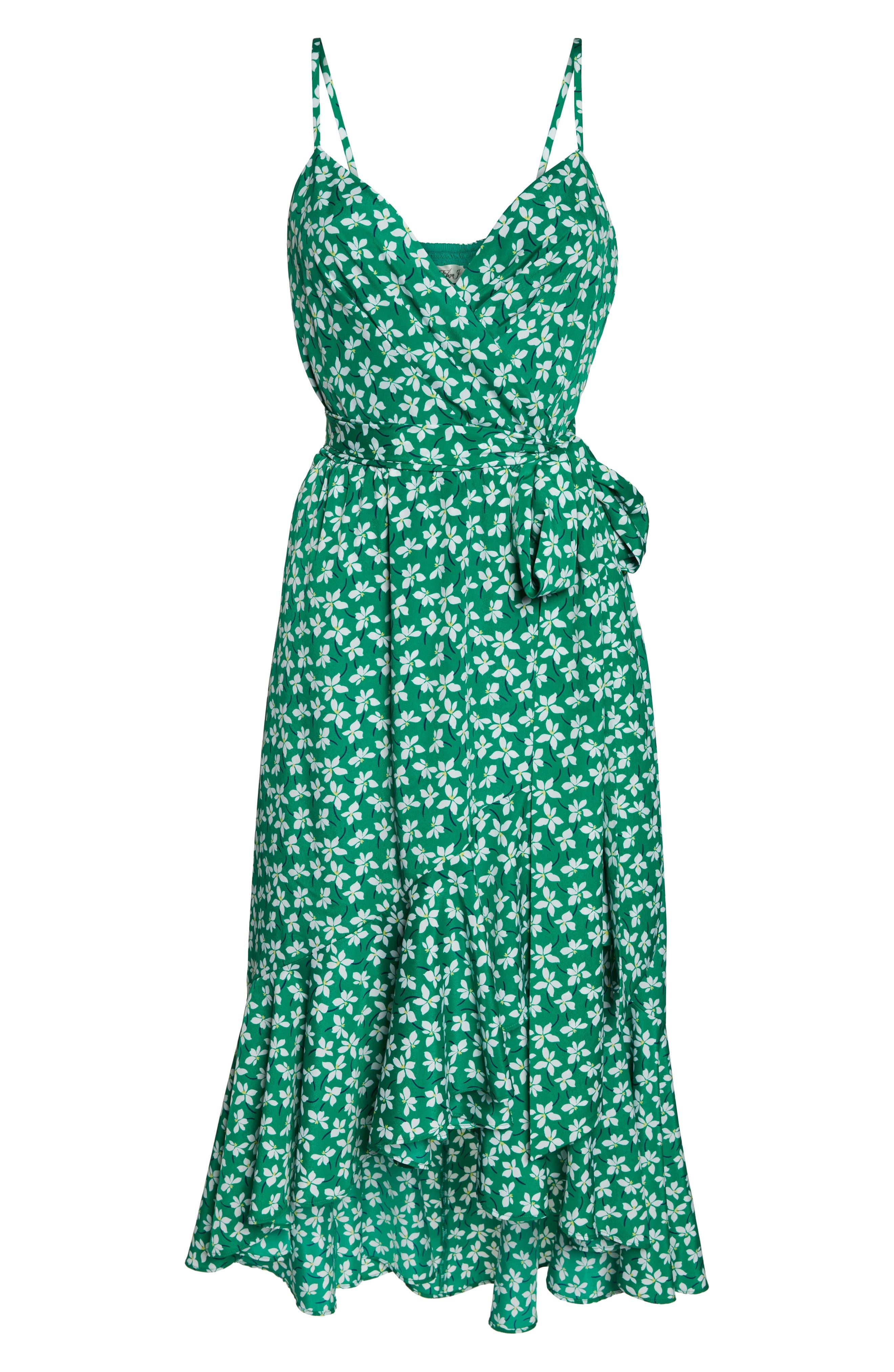 ELIZA J, Floral High/Low Faux Wrap Dress, Alternate thumbnail 7, color, GREEN