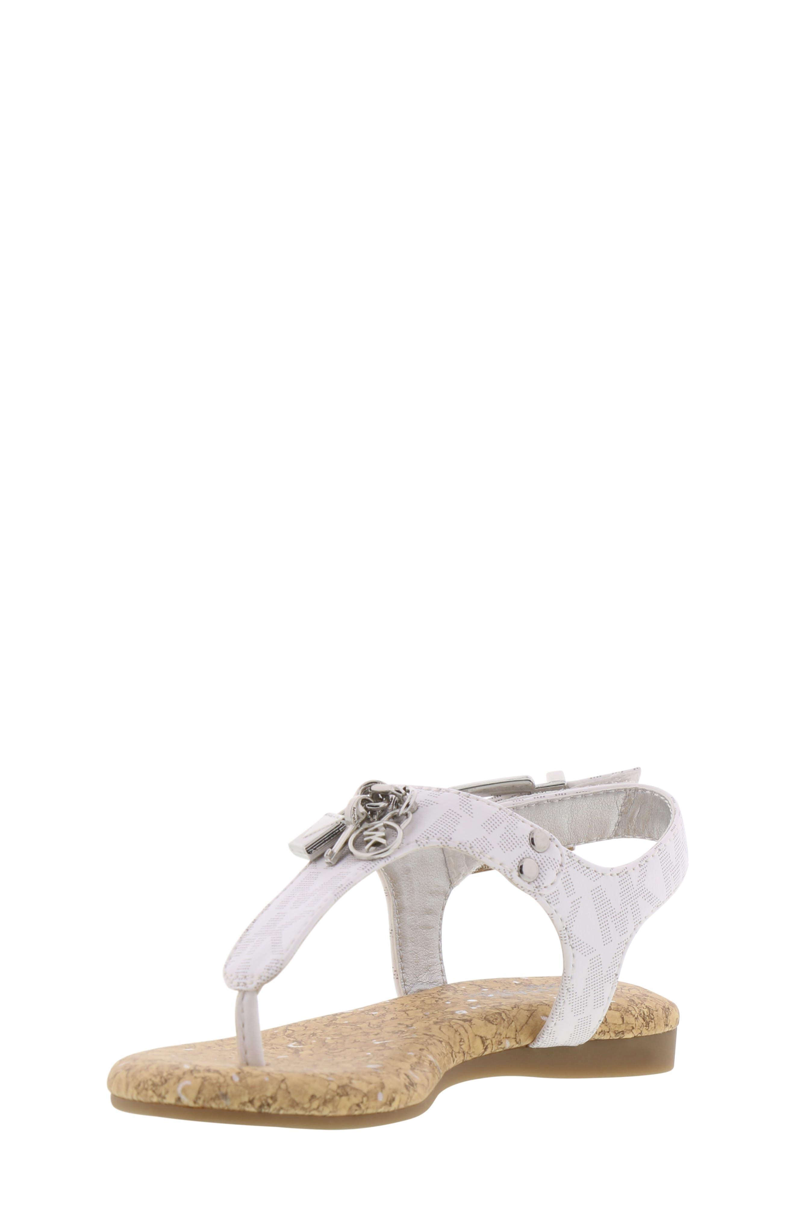 MICHAEL MICHAEL KORS, Tilly Cora Charm T-Strap Sandal, Alternate thumbnail 9, color, WHITE LOGO