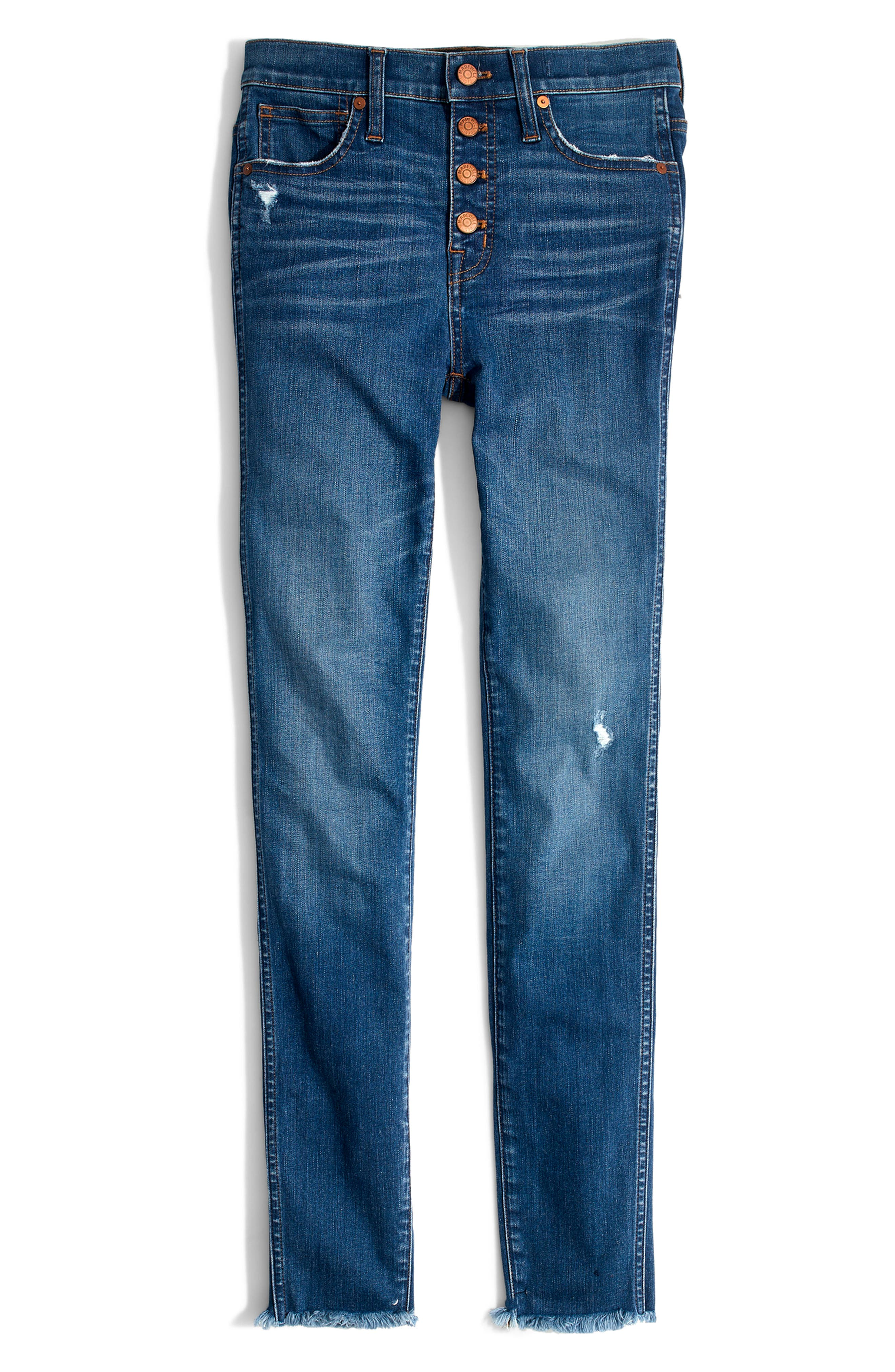 MADEWELL, 10-Inch High Rise Skinny Jeans, Alternate thumbnail 7, color, HANNA