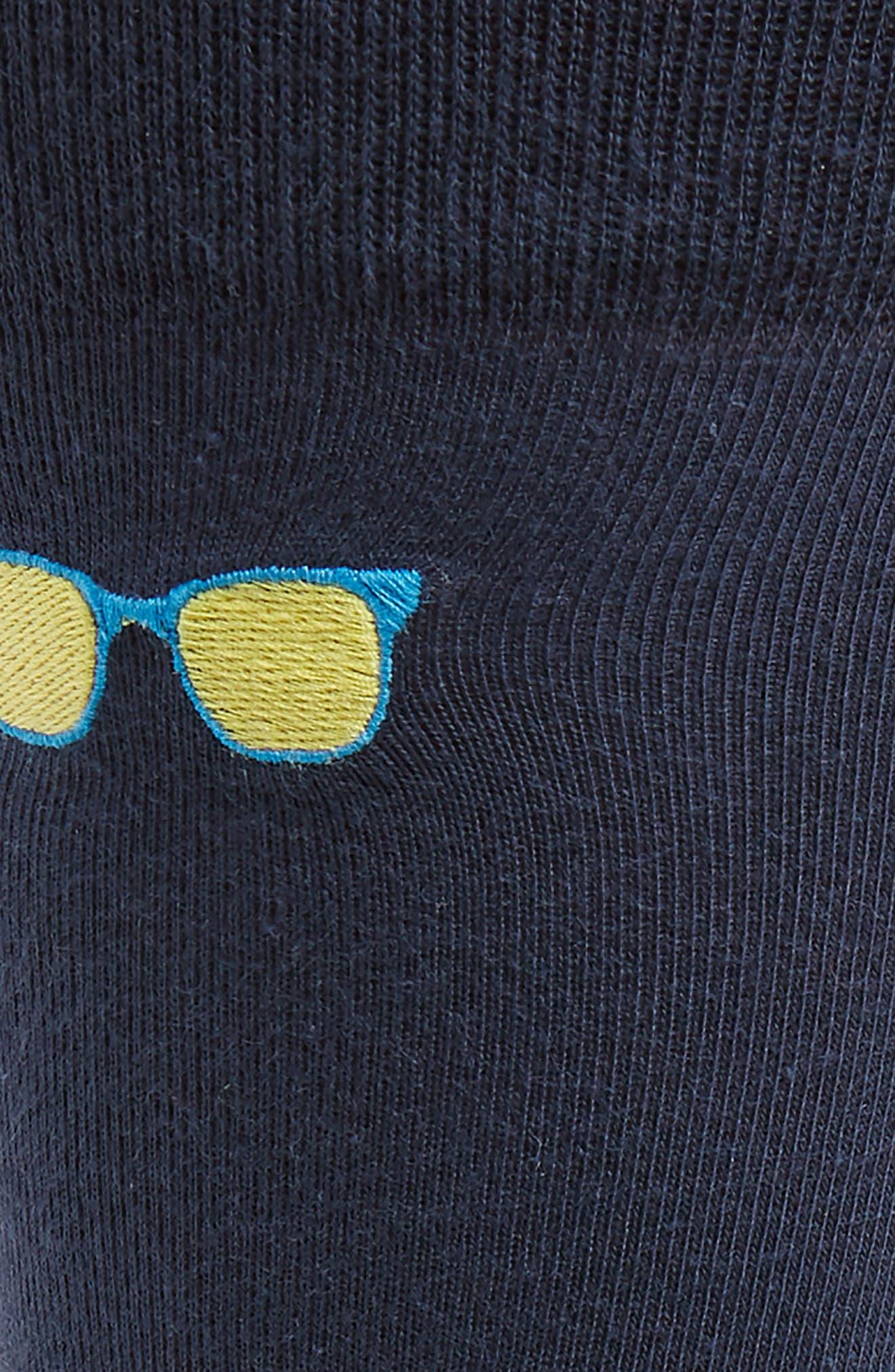 NORDSTROM MEN'S SHOP, Embroidered Sunglasses Socks, Alternate thumbnail 2, color, NAVY DUSK