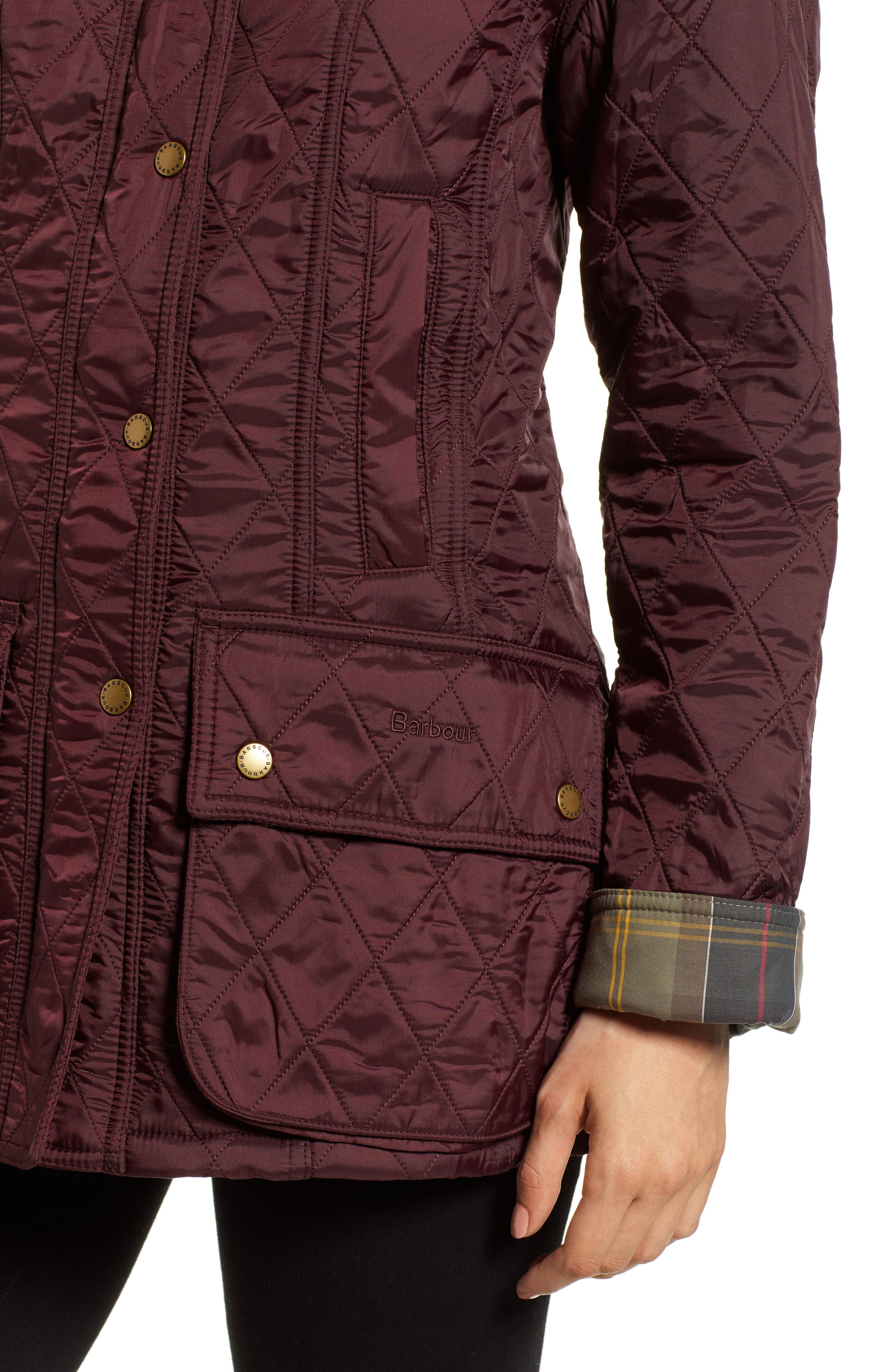 BARBOUR, 'Beadnell' Quilted Jacket, Alternate thumbnail 5, color, 930