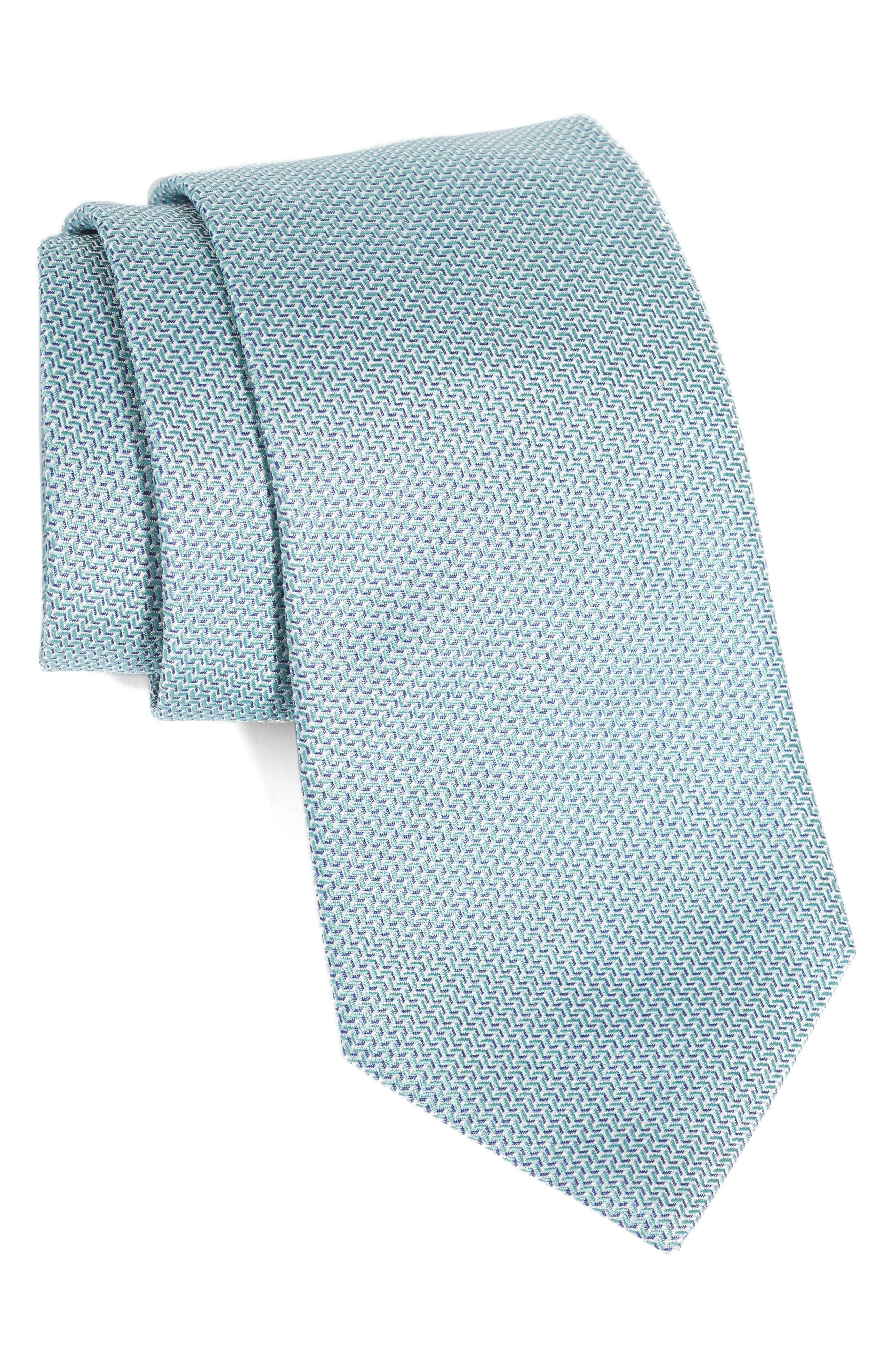 EMPORIO ARMANI, Solid Silk Tie, Main thumbnail 1, color, GREEN