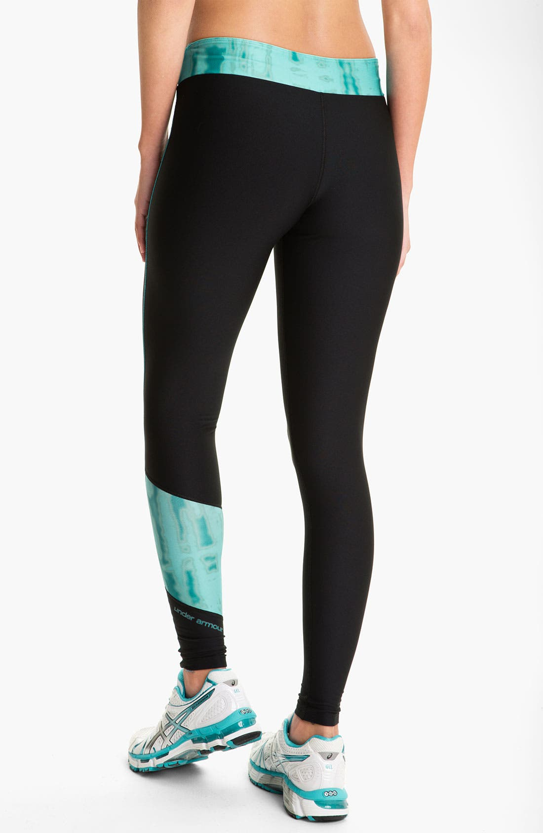 UNDER ARMOUR, ColdGear<sup>®</sup> Print Blocked Tights, Alternate thumbnail 4, color, 010
