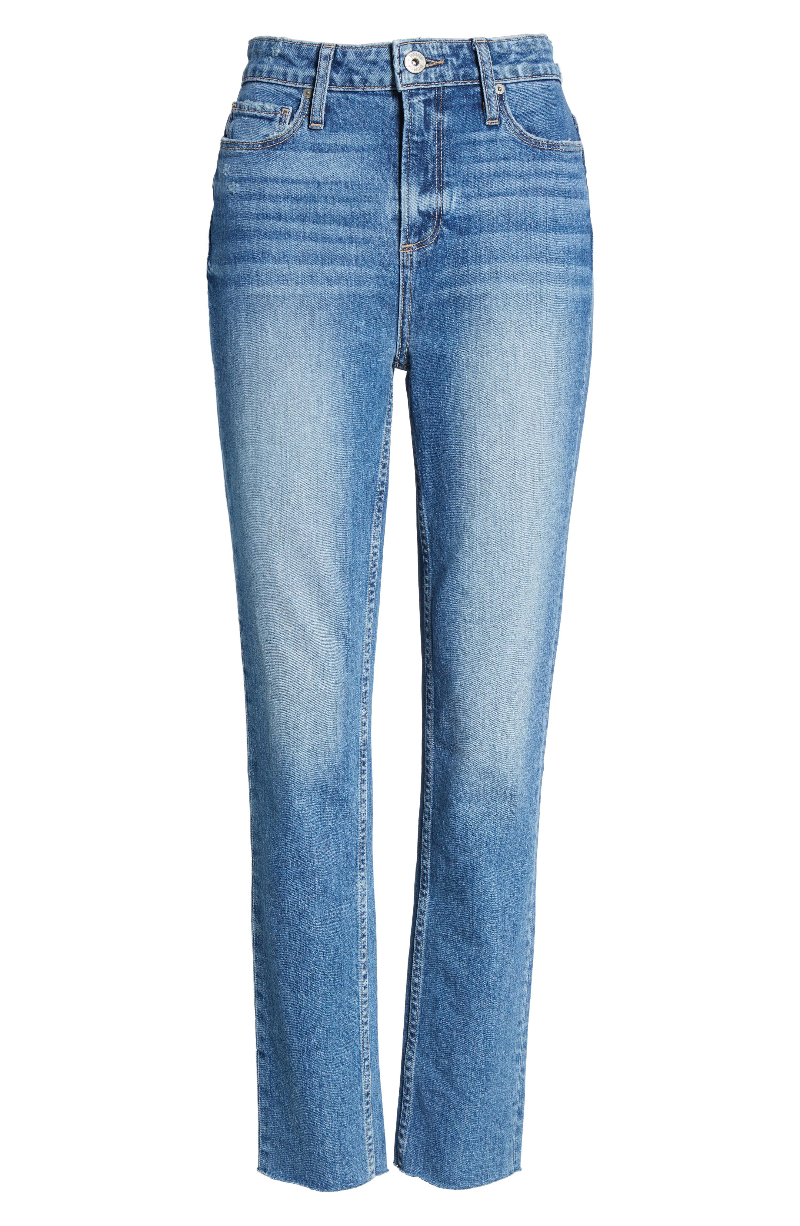 PAIGE, Vintage Hoxton High Waist Slim Raw Hem Jeans, Alternate thumbnail 6, color, BIRDIE