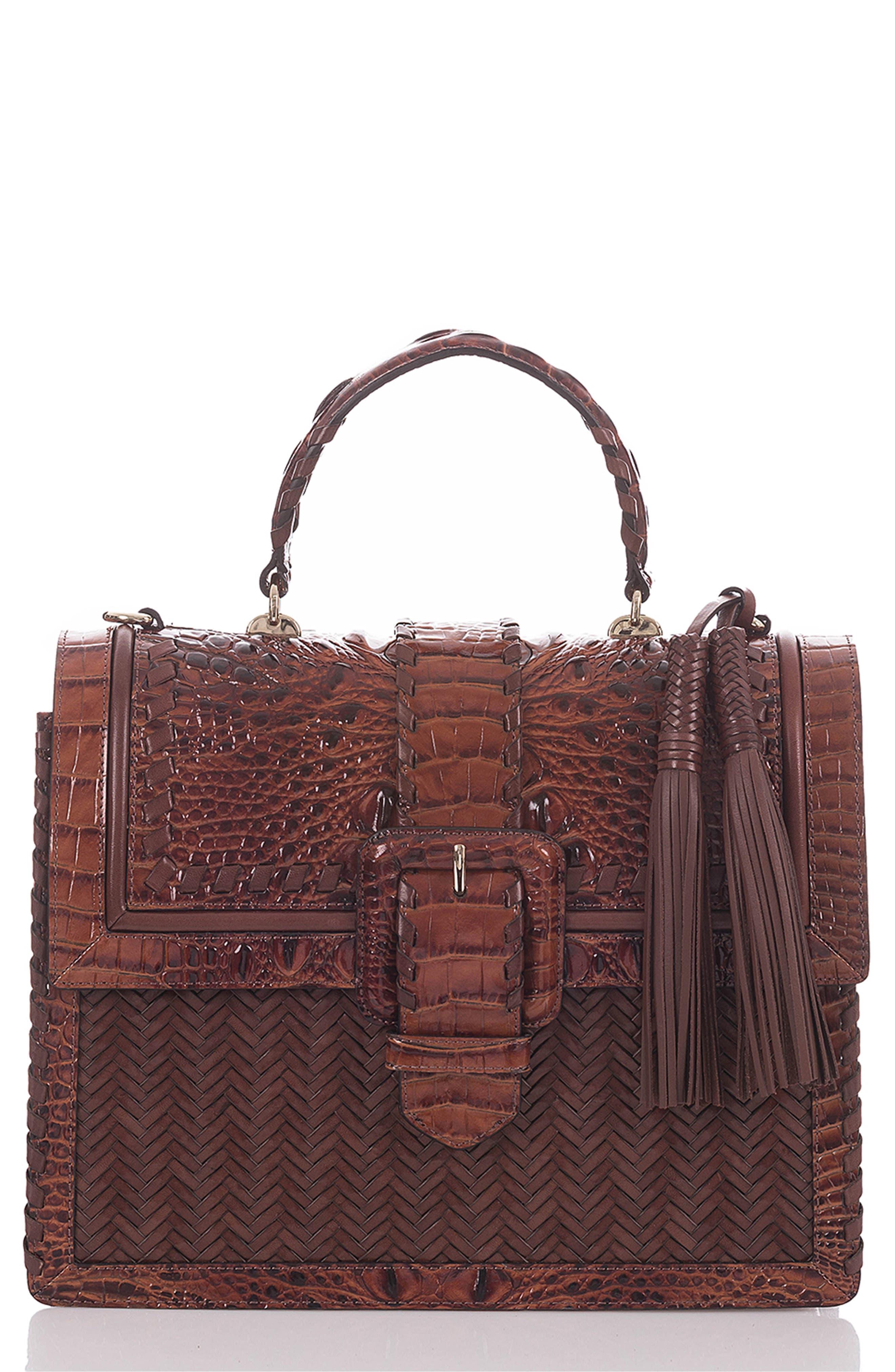 BRAHMIN, Medium Francine Croc Embossed & Woven Leather Satchel, Main thumbnail 1, color, 200