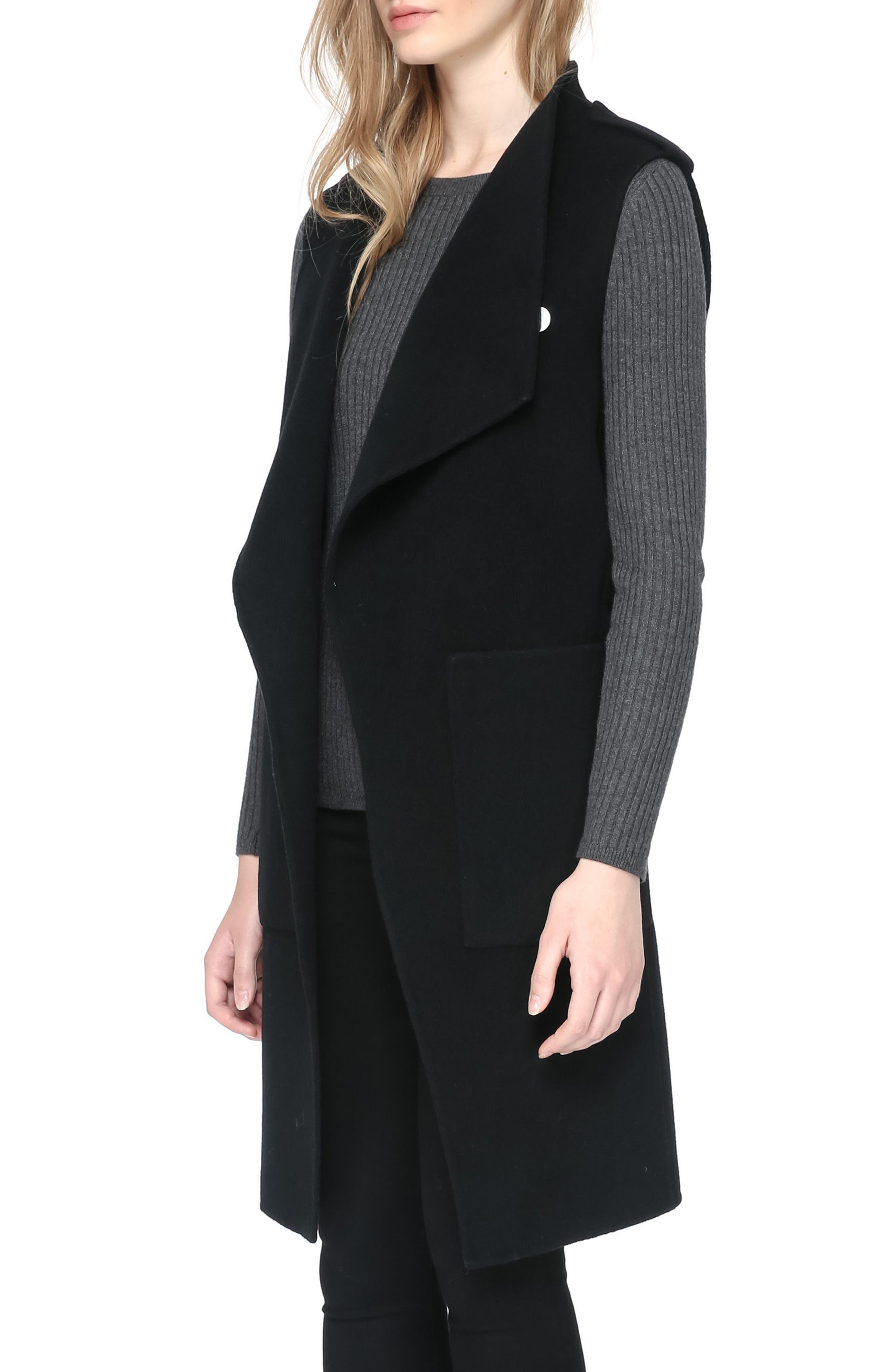 SOIA & KYO, Reversible Wool Blend Vest, Alternate thumbnail 3, color, 001