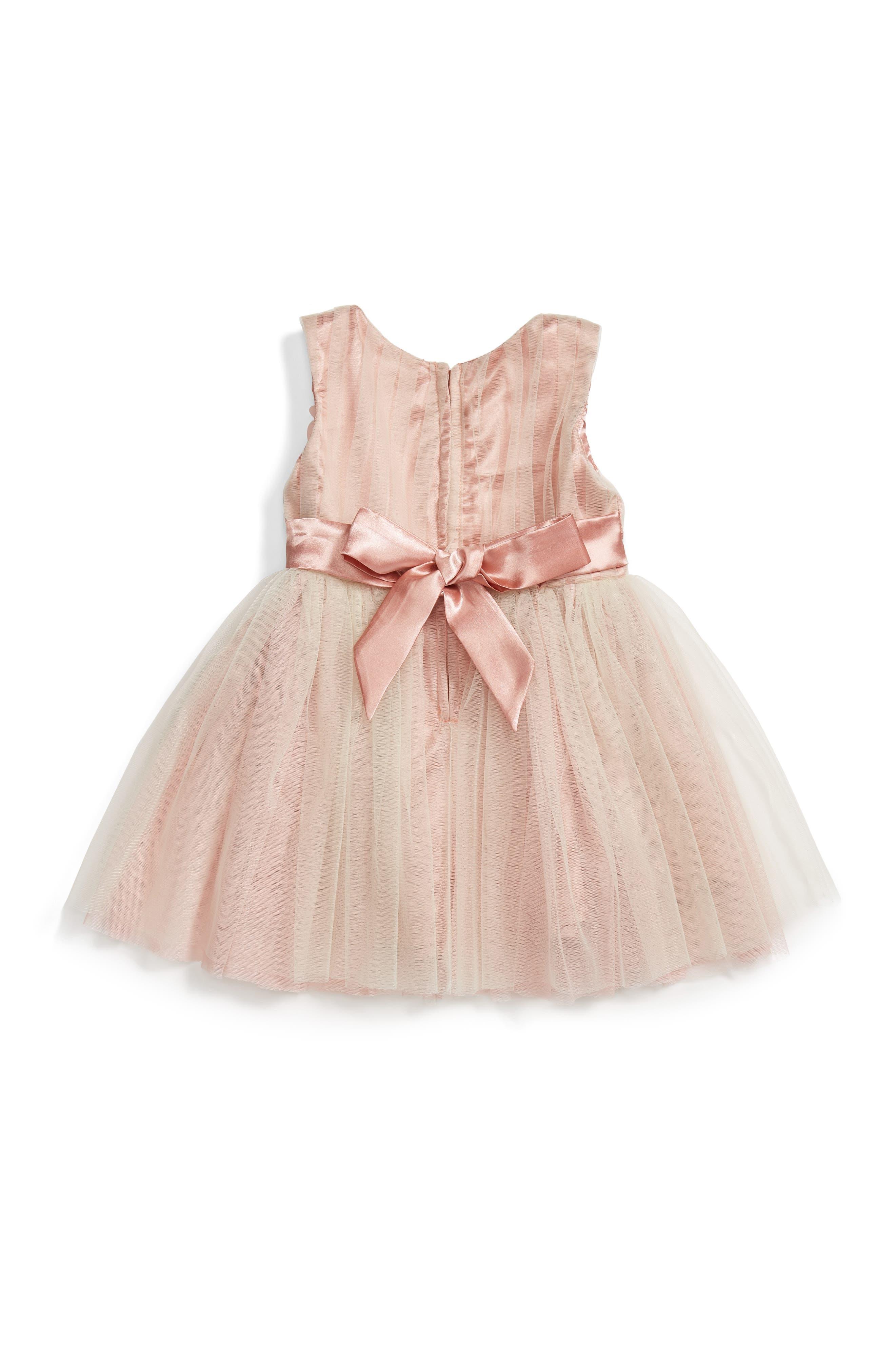 POPATU, Sleeveless Rosette Tulle Dress, Alternate thumbnail 2, color, TAUPE