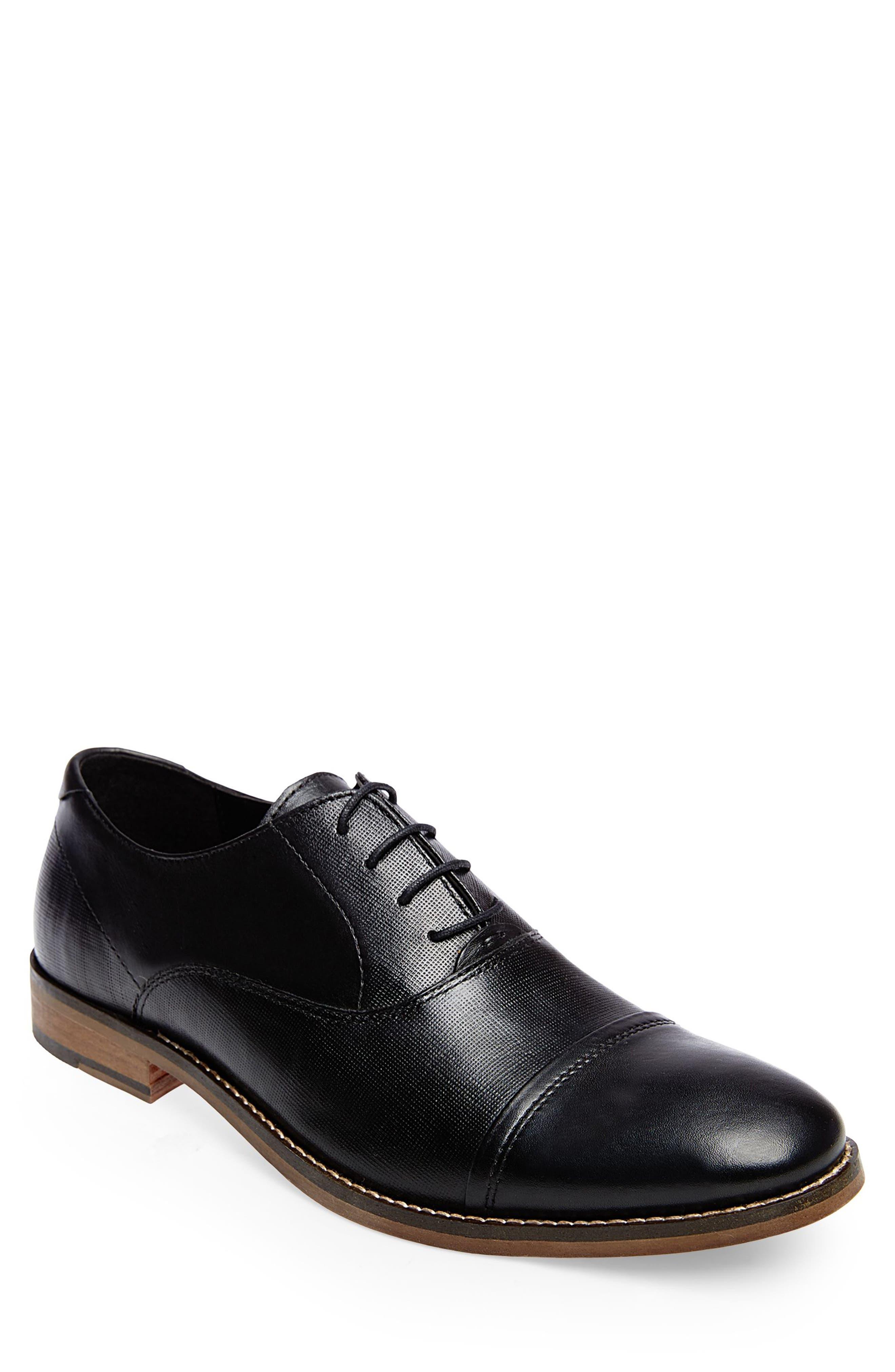 STEVE MADDEN, Finnich Textured Cap Toe Oxford, Main thumbnail 1, color, BLACK