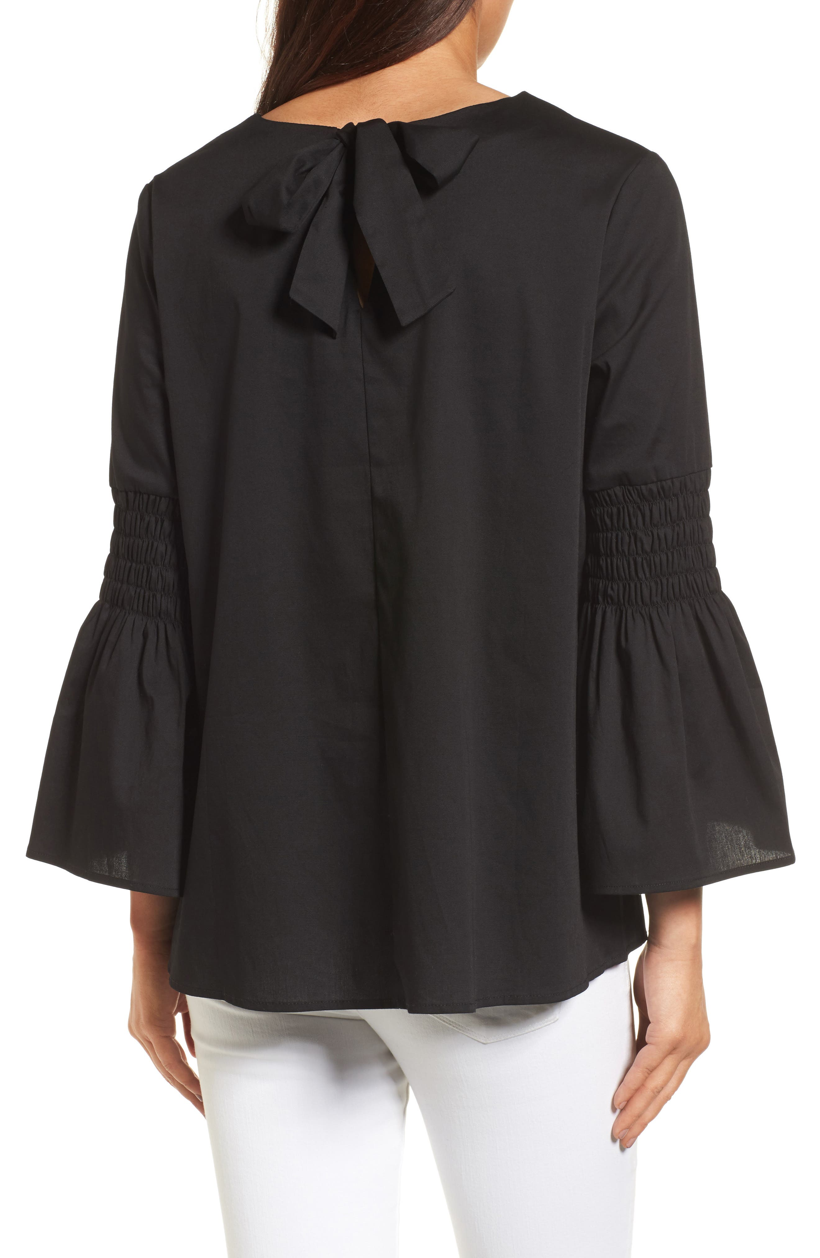 HALOGEN<SUP>®</SUP>, Bow Back Bell Sleeve Top, Alternate thumbnail 2, color, 001