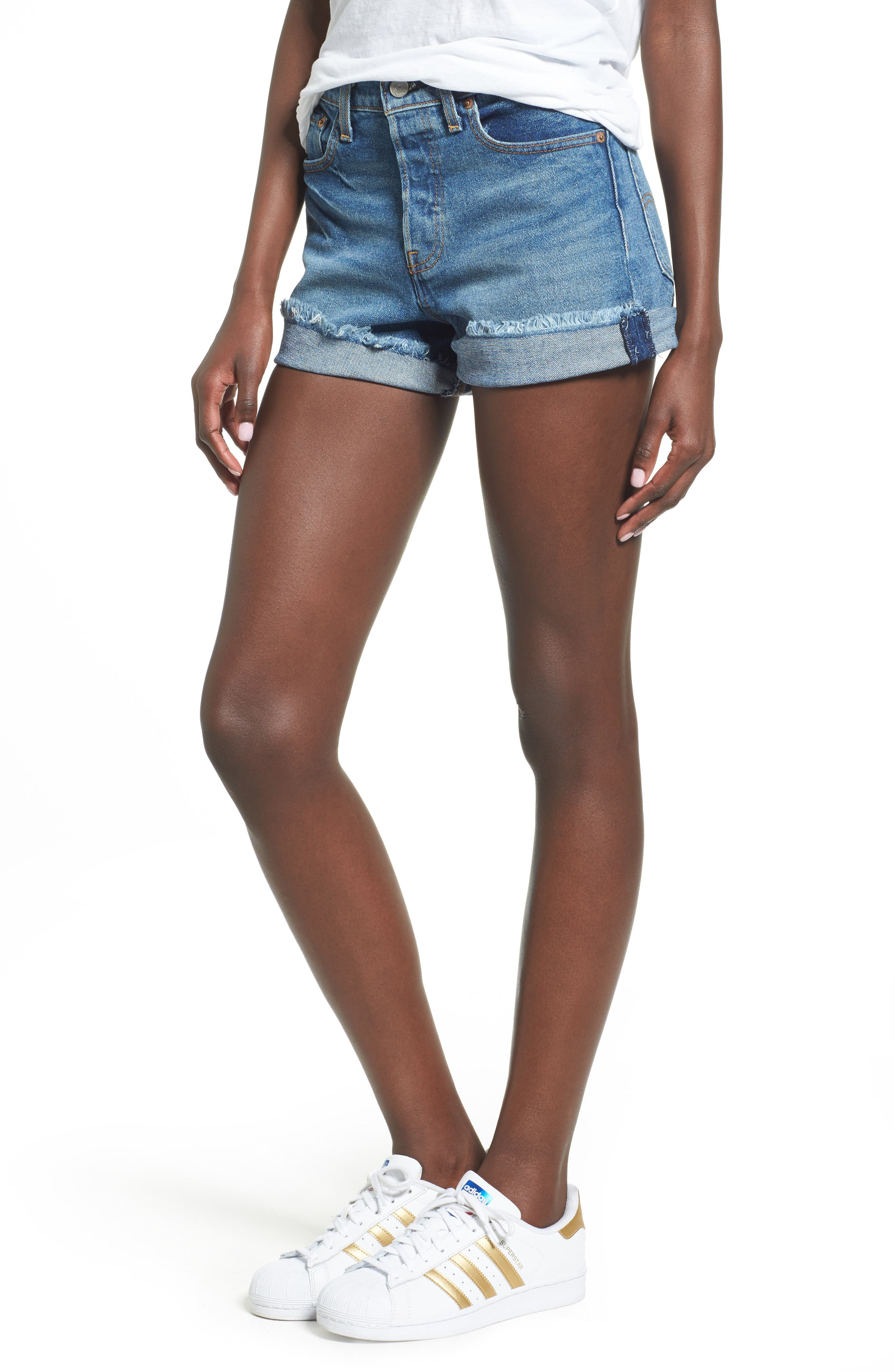 LEVI'S<SUP>®</SUP> Wedgie High Waist Denim Shorts, Main, color, 400