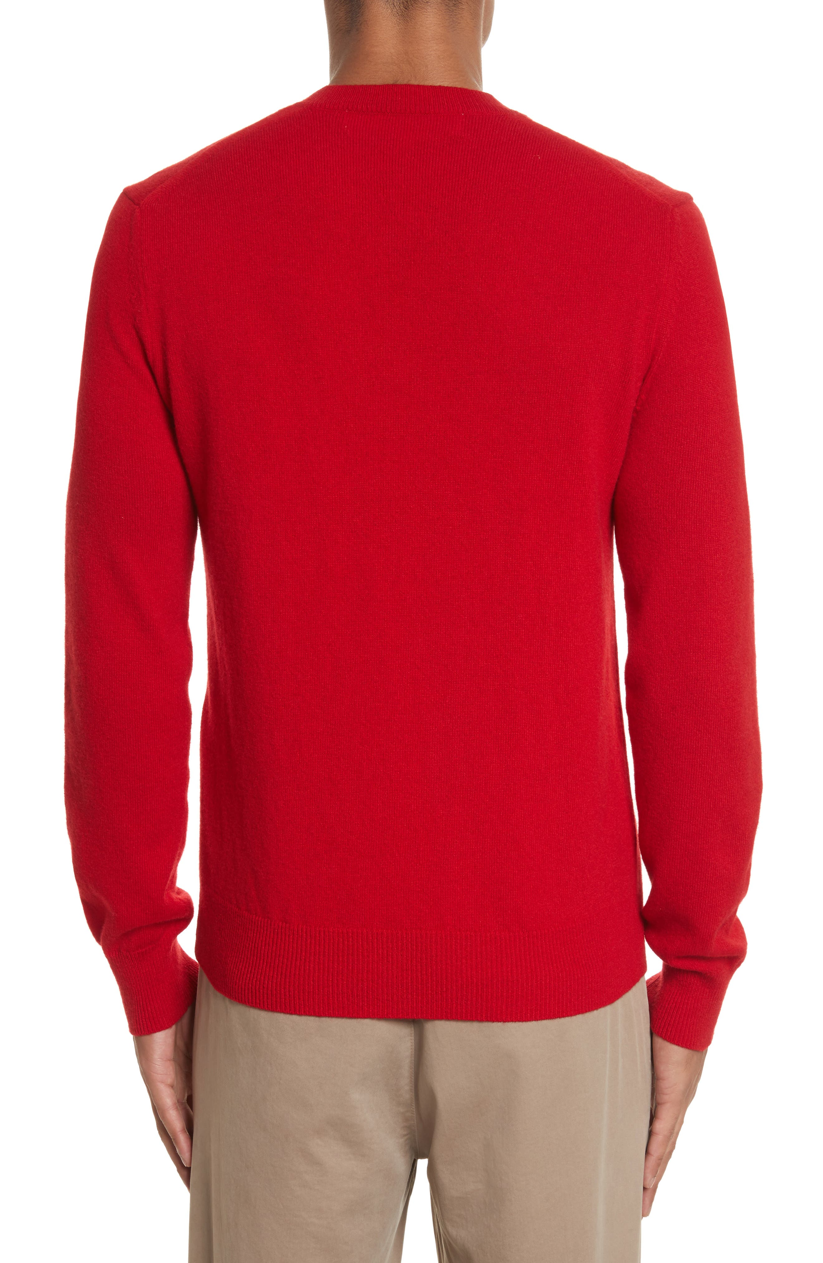 COMME DES GARÇONS PLAY, Wool Pullover, Alternate thumbnail 2, color, RED