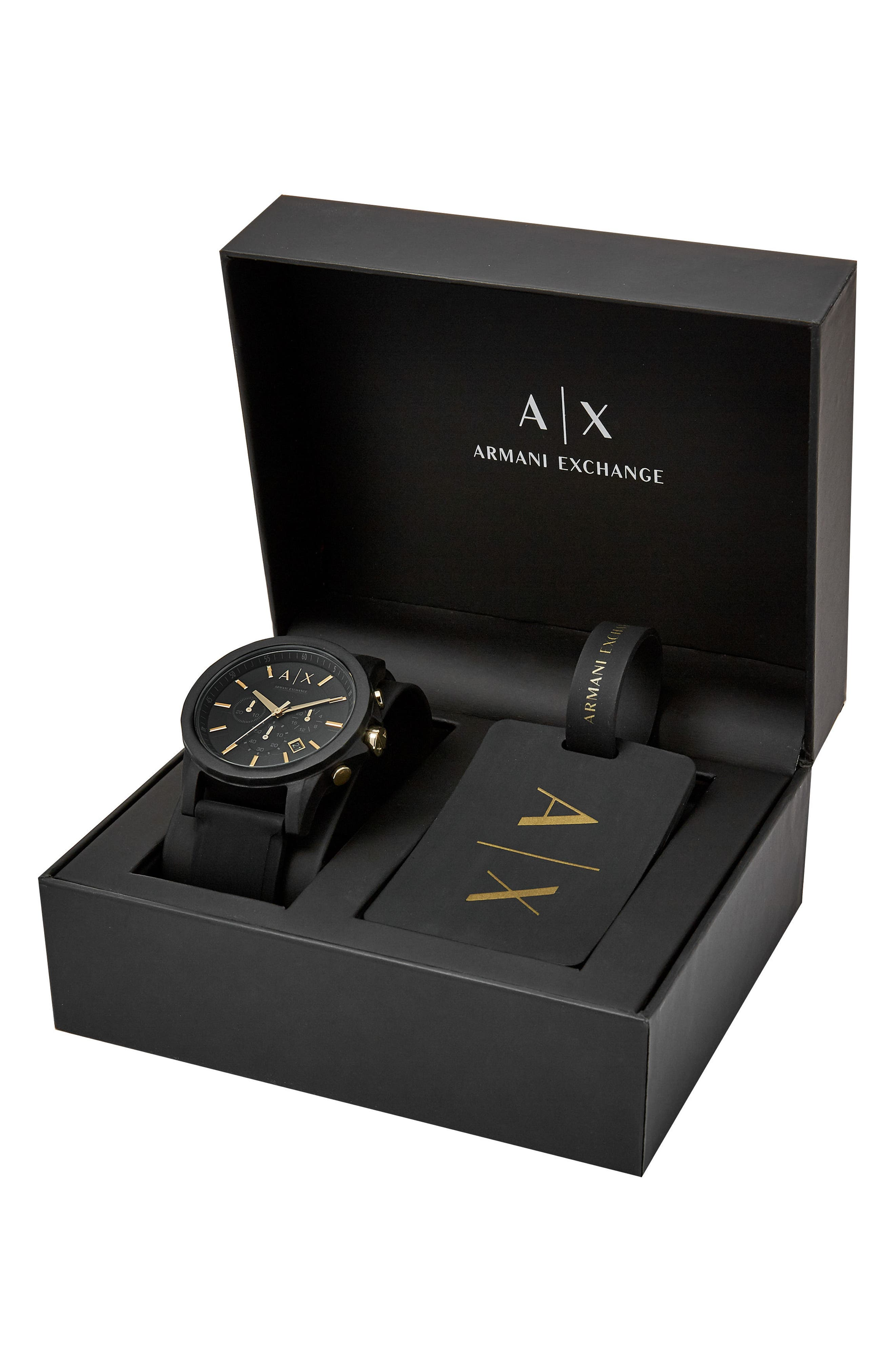 AX ARMANI EXCHANGE, Boxed Chronograph Silicone Strap Watch Gift Set, 45mm, Alternate thumbnail 3, color, 001