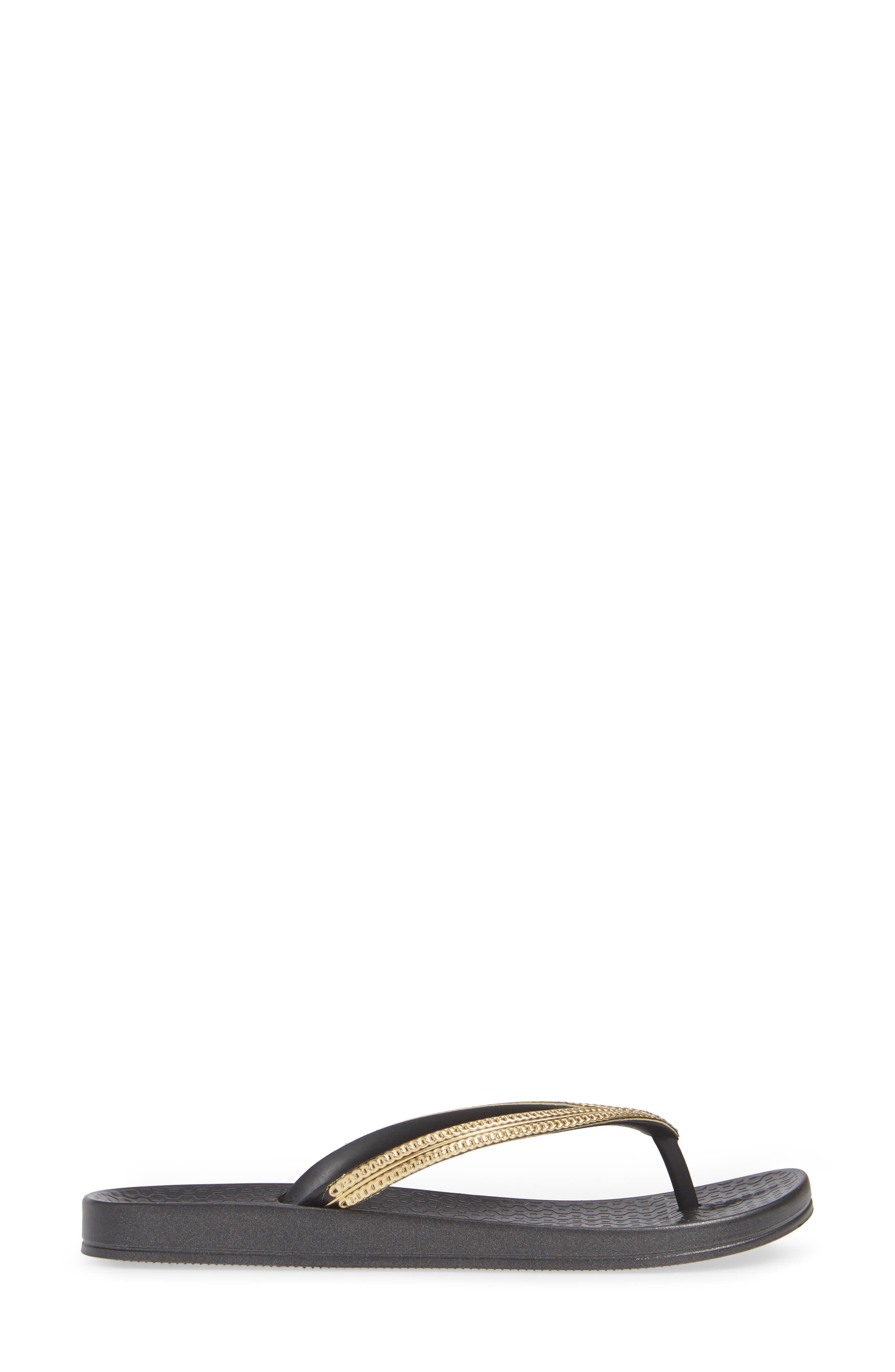 IPANEMA, Ana Metallic Flip Flop, Alternate thumbnail 3, color, BLACK/ GOLD