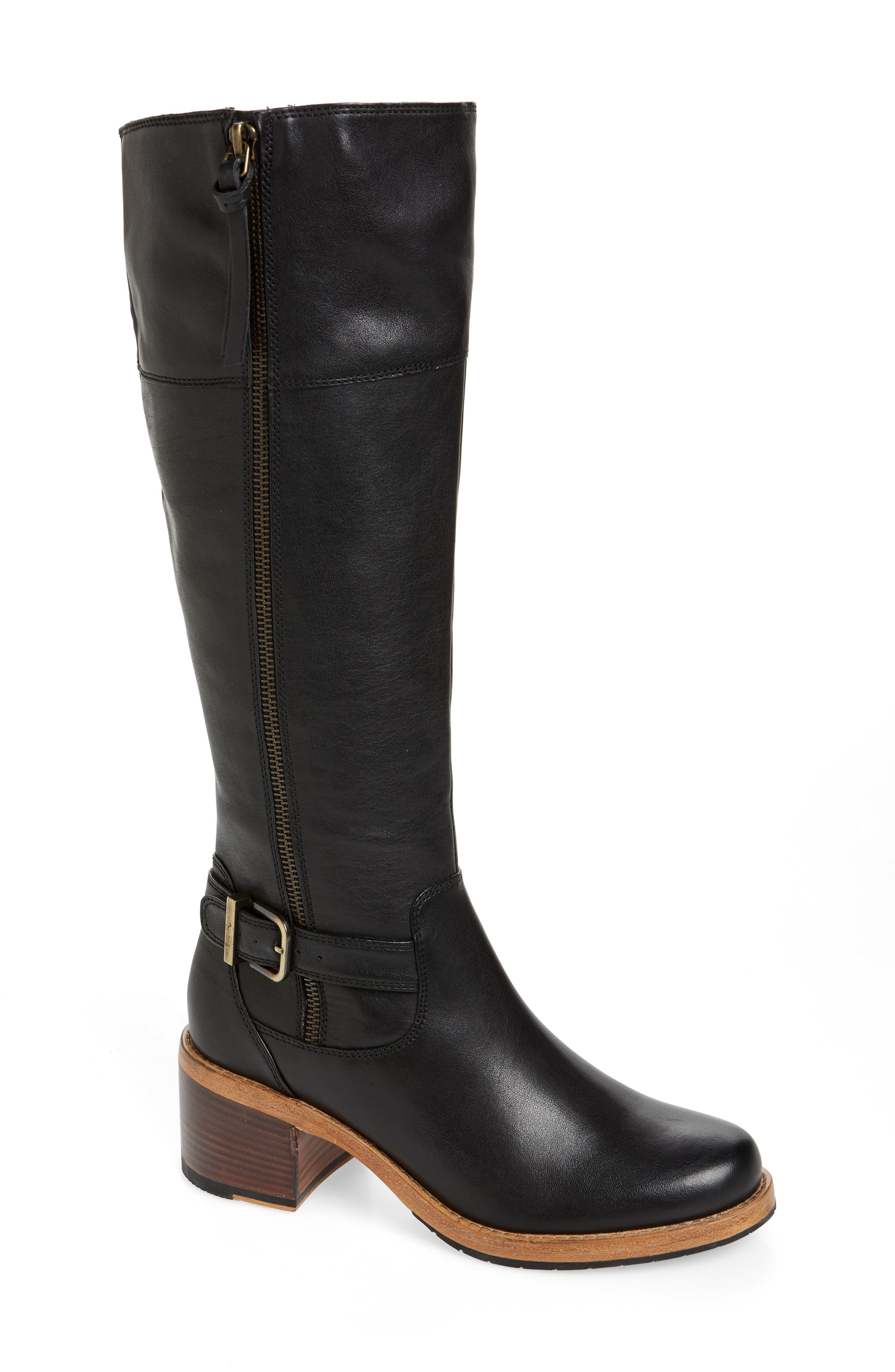 CLARKS<SUP>®</SUP>, Clarkdale Sona Boot, Main thumbnail 1, color, BLACK LEATHER