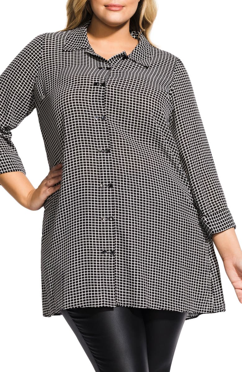 City Chic Tops DOUBLE BUTTON TUNIC TOP