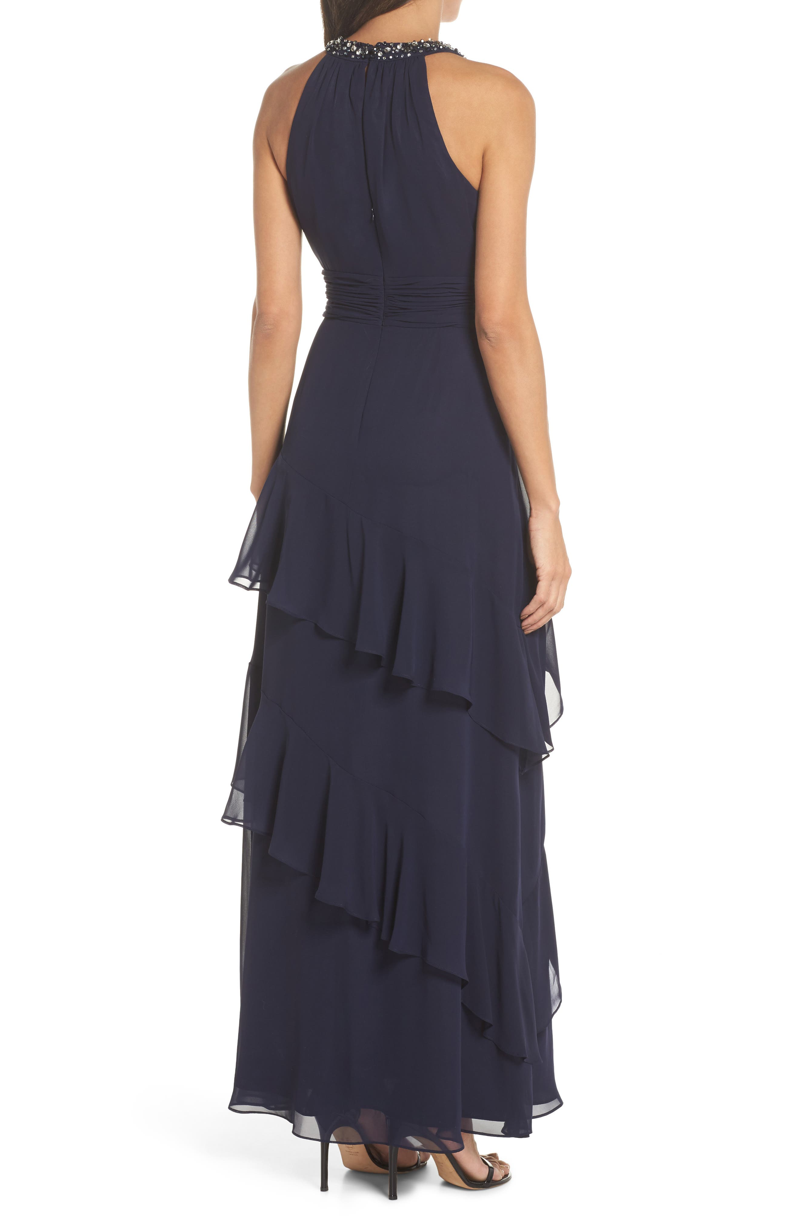 ELIZA J, Beaded Halter Tiered Chiffon Gown, Alternate thumbnail 2, color, NAVY