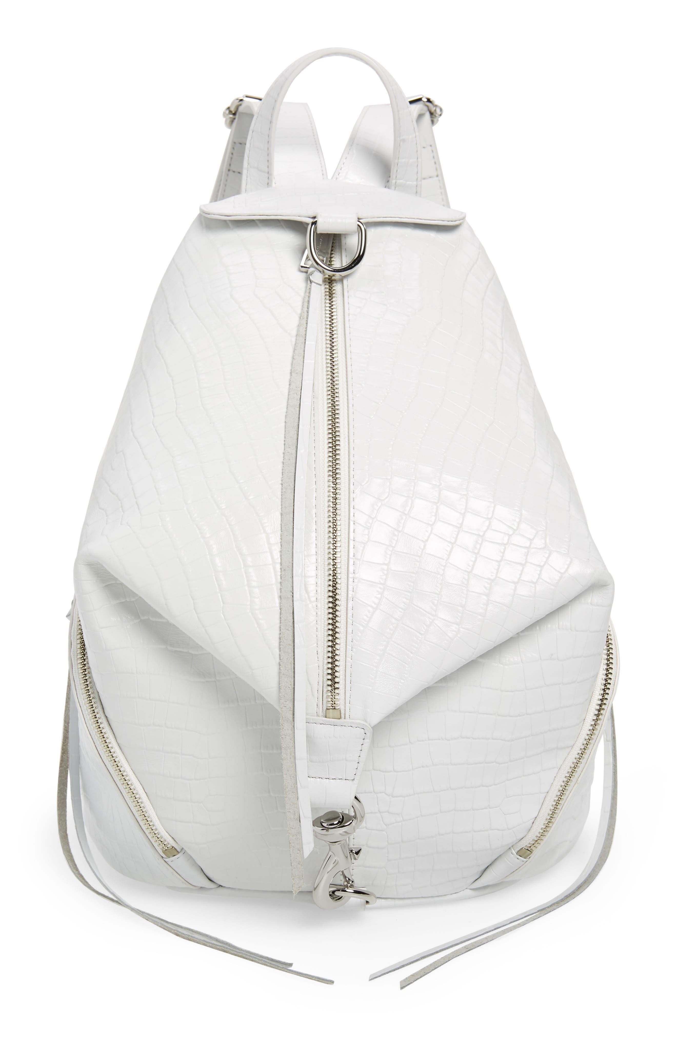 REBECCA MINKOFF Julian Croc Embossed Leather Backpack, Main, color, OPTIC WHITE
