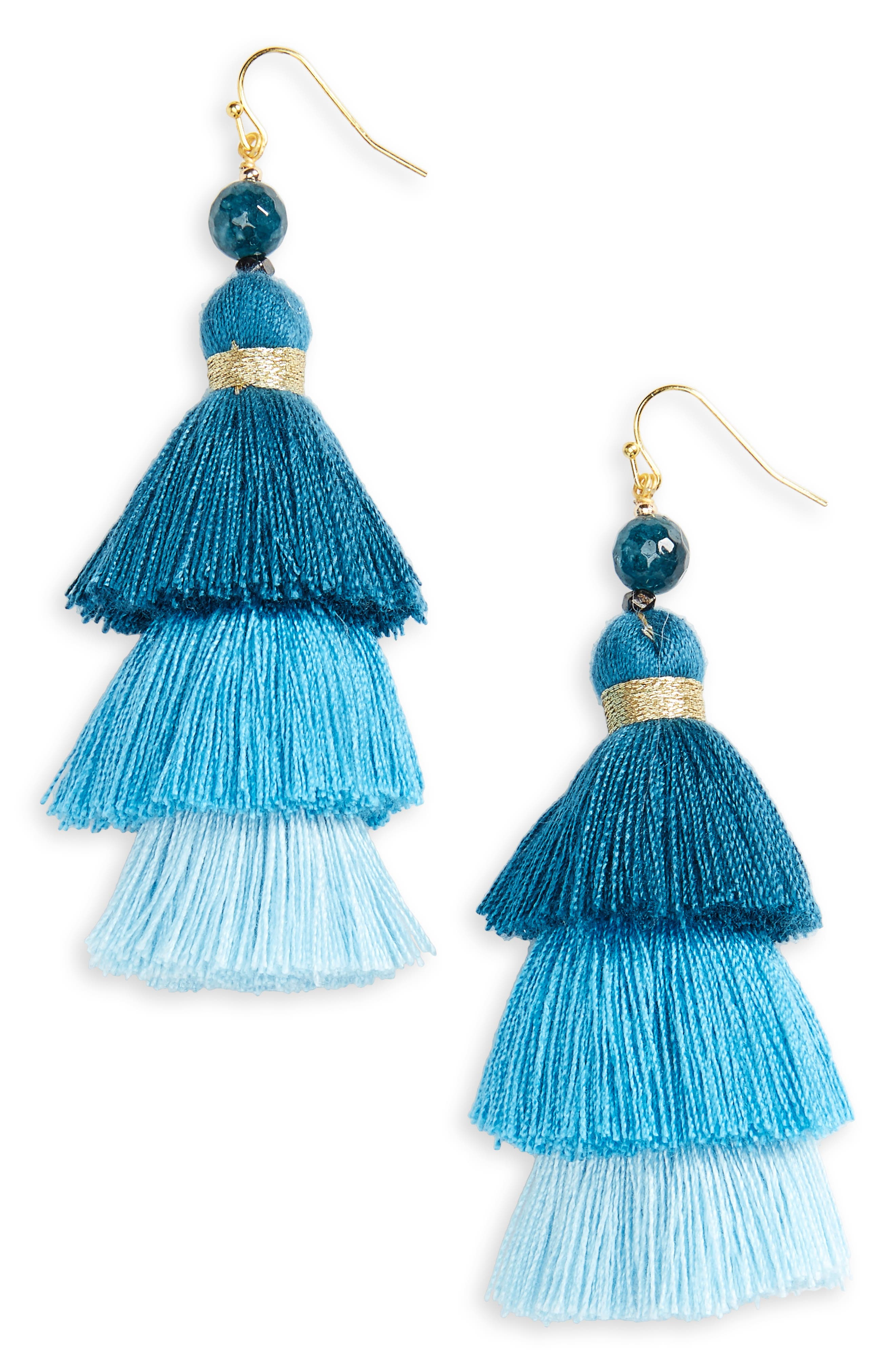 NAKAMOL DESIGN Layered Tassel Statement Earrings, Main, color, 400