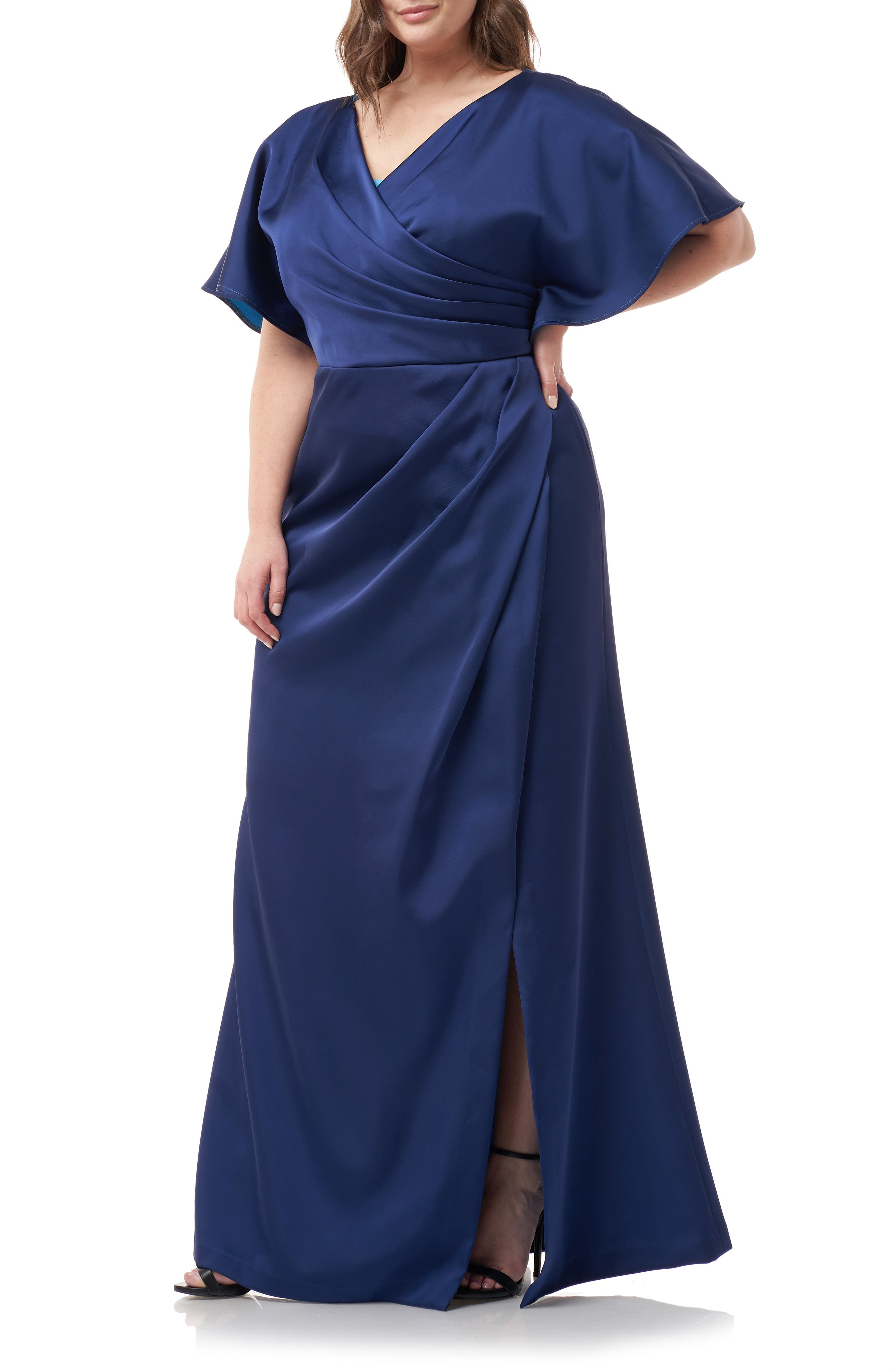 Plus Size Js Collections Faux Wrap Bonded Satin Gown, Blue