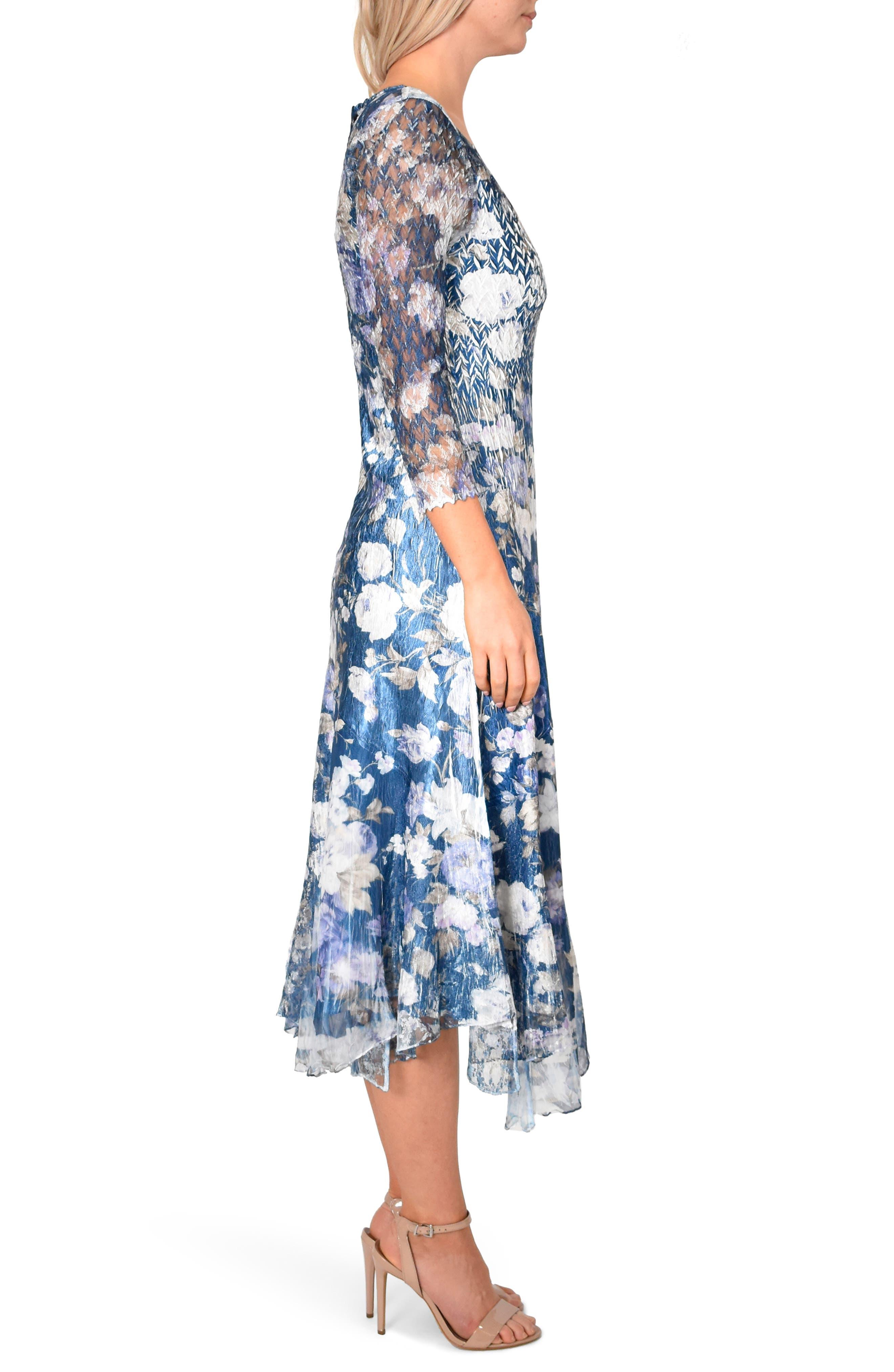 KOMAROV, Floral Charmeuse & Chiffon Dress, Alternate thumbnail 3, color, OLENADER NIGHT