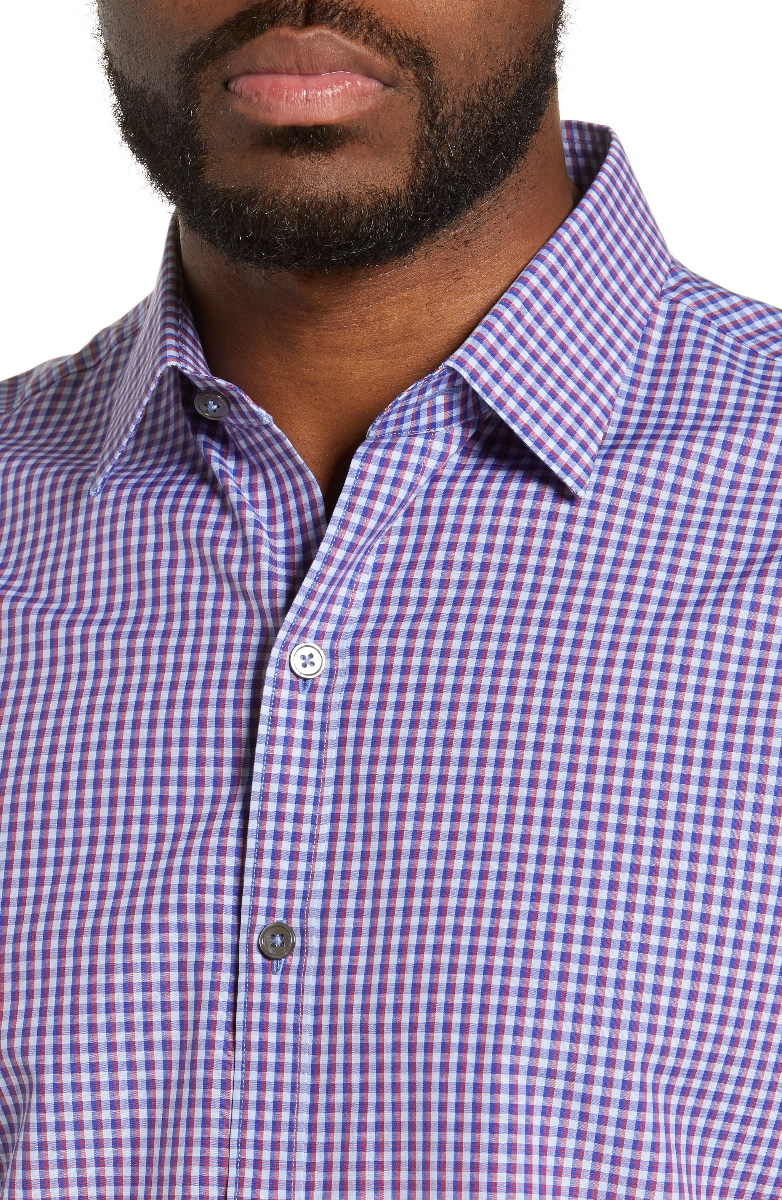 ZACHARY PRELL, Germain Regular Fit Gradient Check Sport Shirt, Alternate thumbnail 2, color, RED