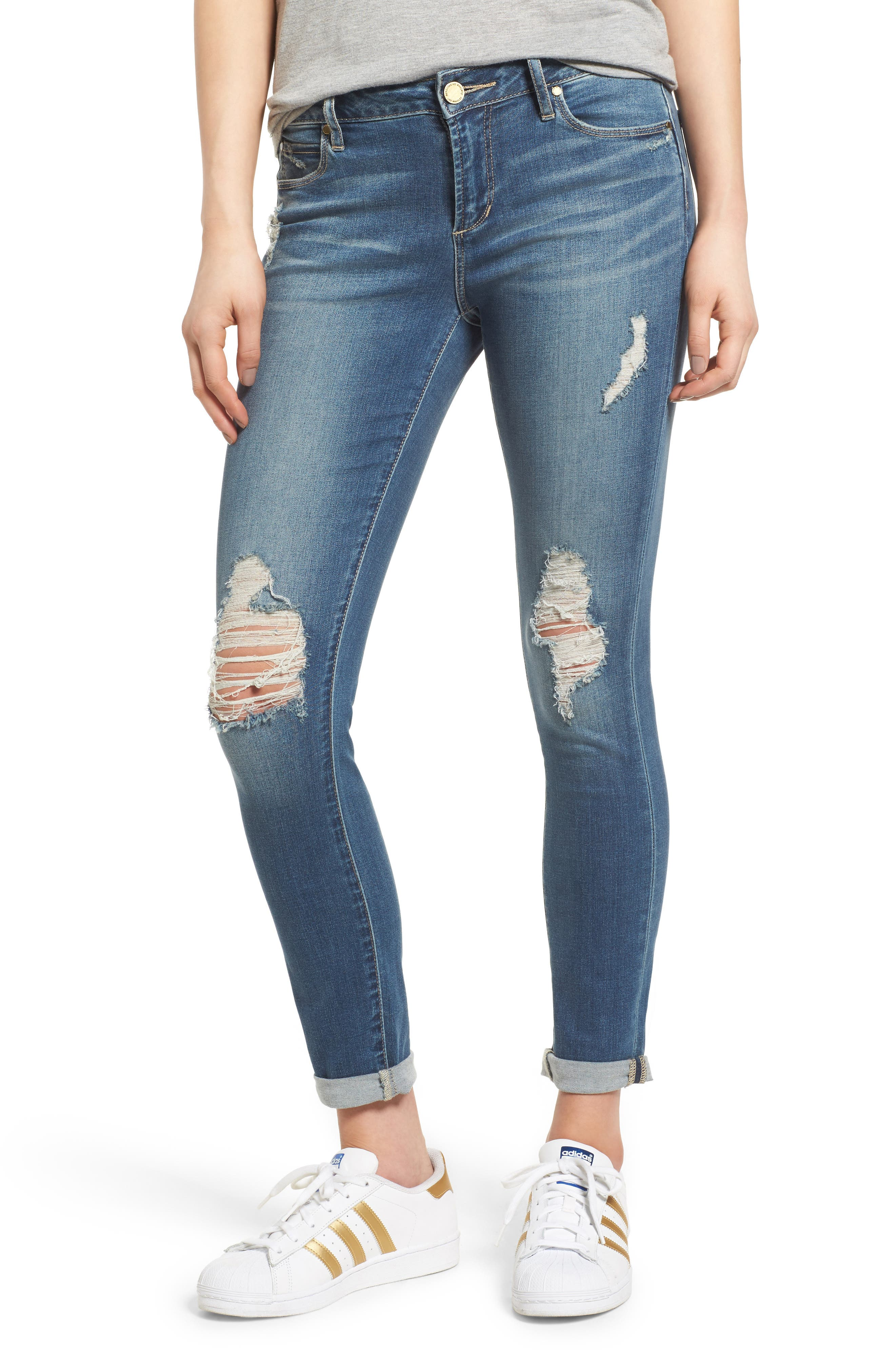 ARTICLES OF SOCIETY, Karen Ripped Crop Skinny Jeans, Main thumbnail 1, color, 400