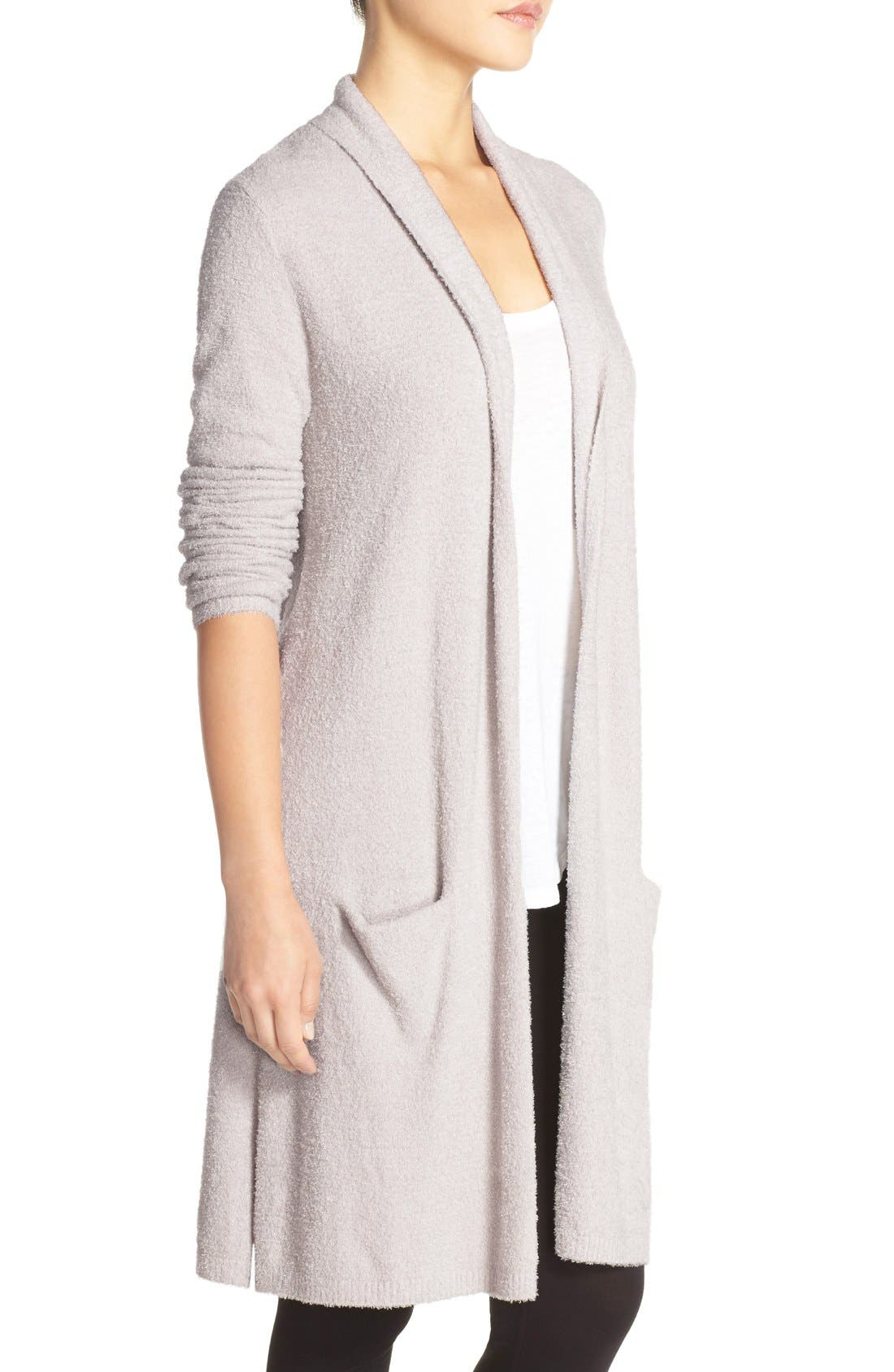 BAREFOOT DREAMS<SUP>®</SUP>, CozyChic Lite<sup>®</sup> Long Essential Cardigan, Alternate thumbnail 3, color, 020
