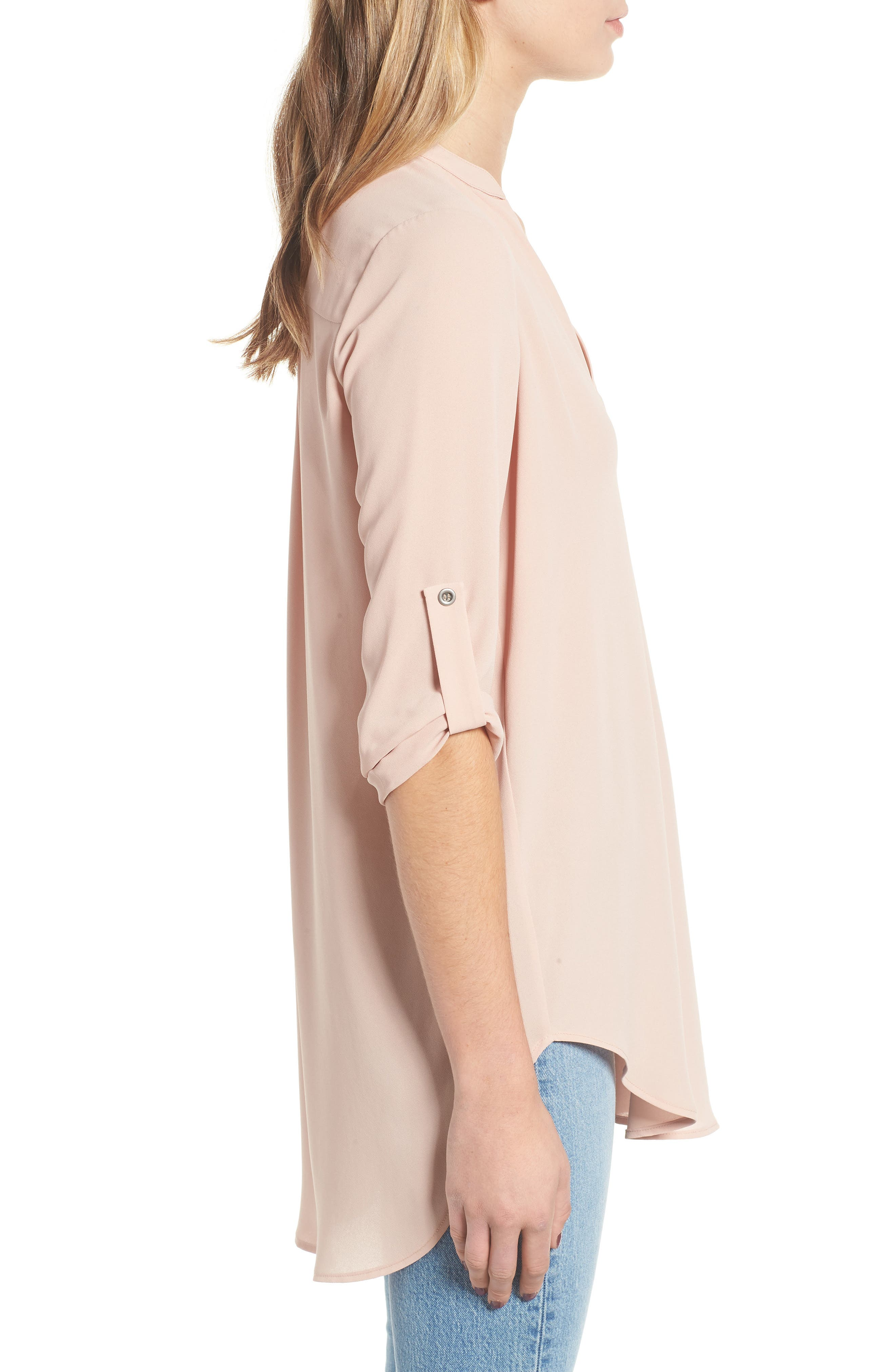 ---, Perfect Roll Tab Sleeve Tunic, Alternate thumbnail 3, color, 218