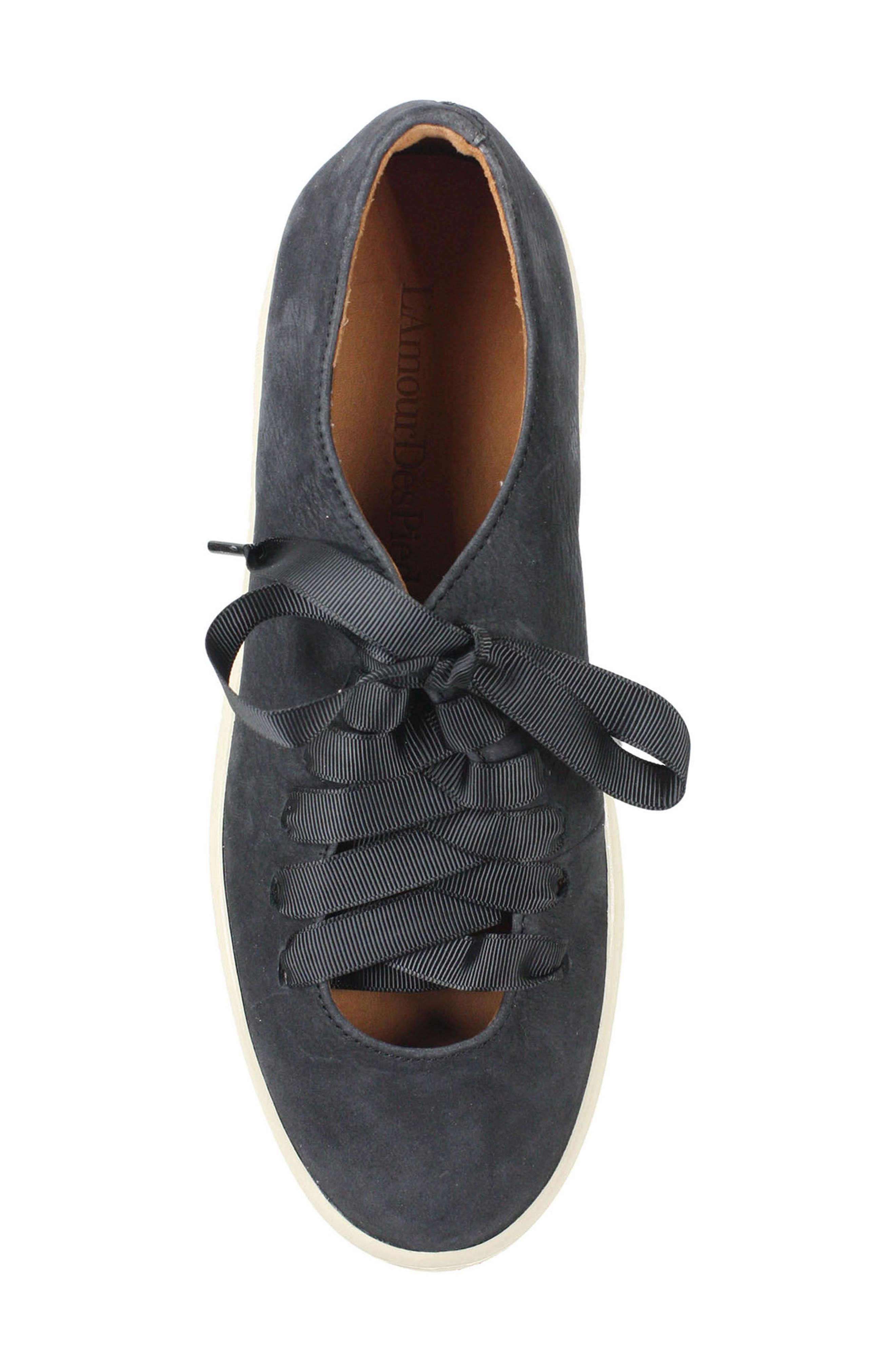 L'AMOUR DES PIEDS, Zaheera Sneaker, Alternate thumbnail 5, color, BLACK NUBUCK LEATHER