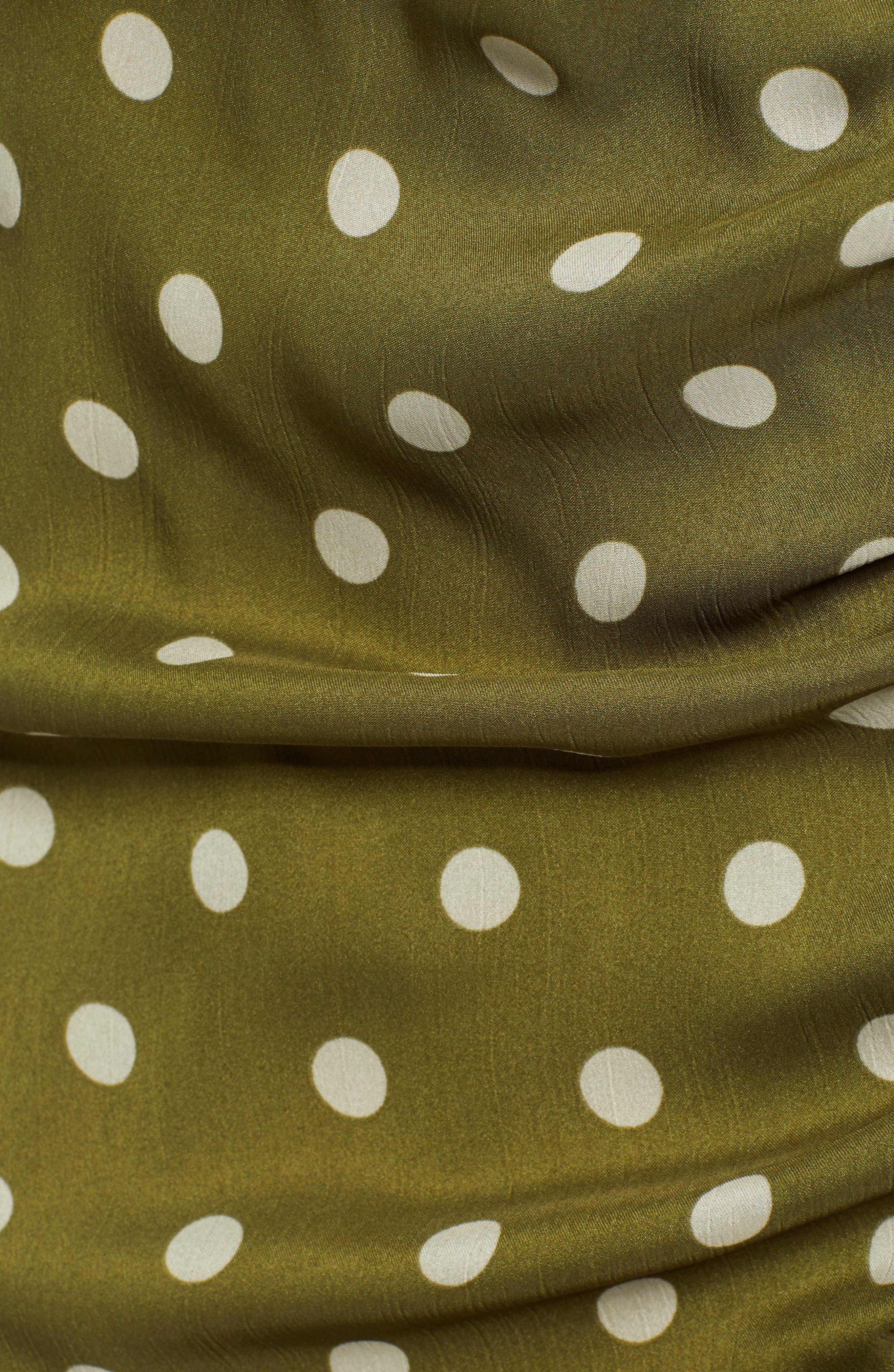 CHRISELLE LIM COLLECTION, Chriselle Lim Ren Ruched Skirt, Alternate thumbnail 5, color, CREAM/ OLIVE