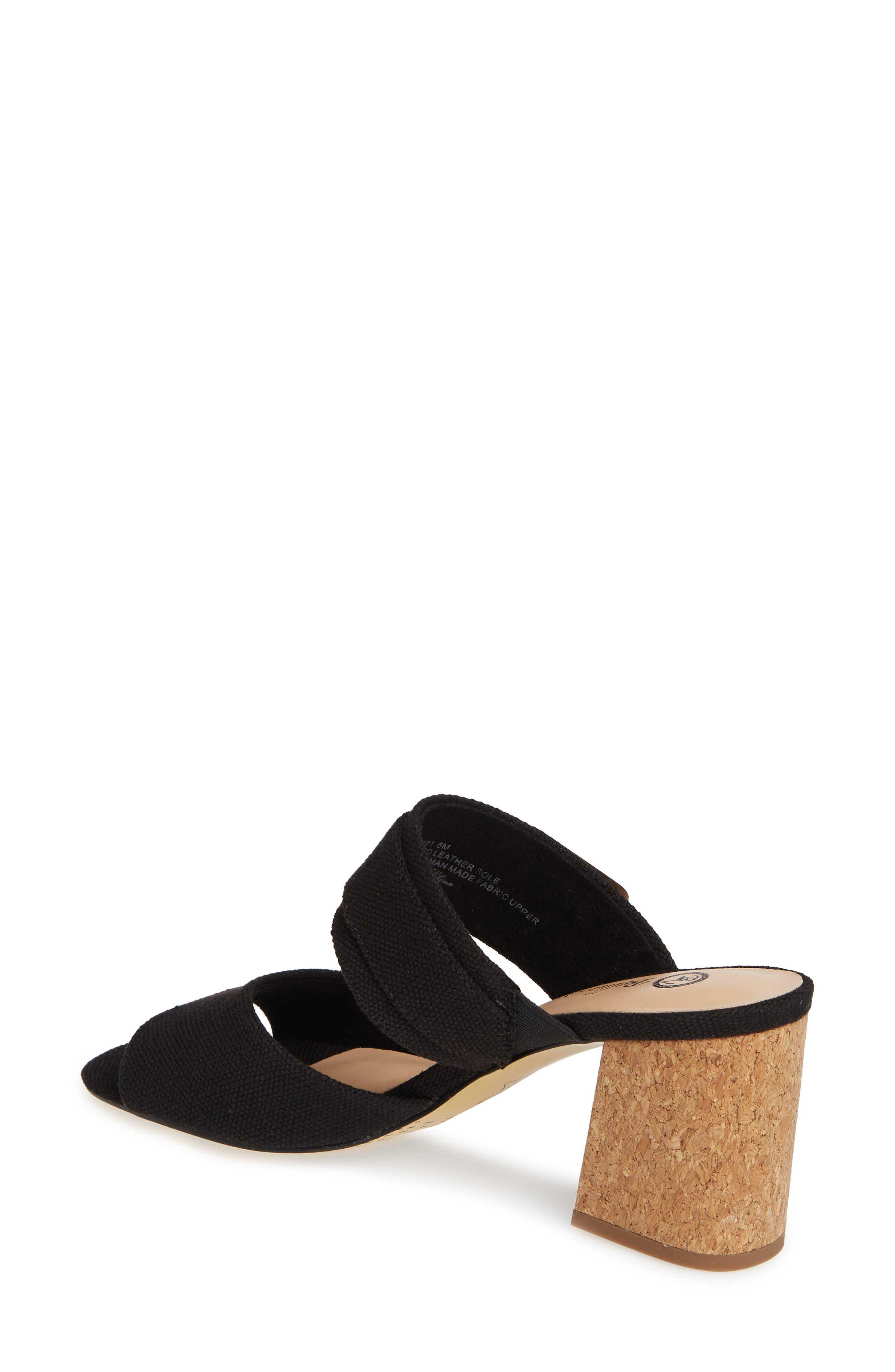 BELLA VITA, Tory II Buckle Slide Sandal, Alternate thumbnail 2, color, BLACK LINEN FABRIC