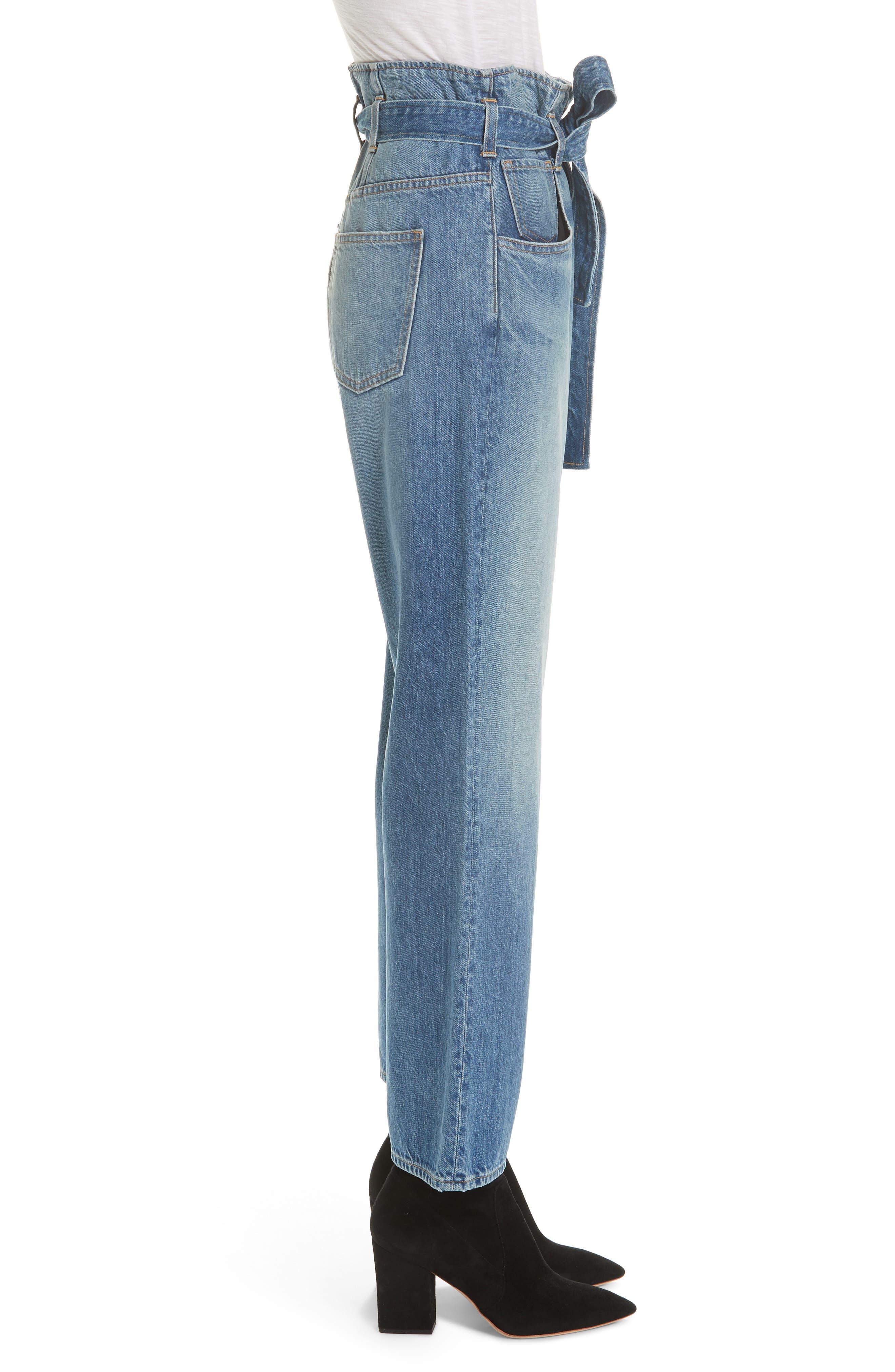 3X1 NYC, Kelly Paperbag Waist Ankle Wide Leg Jeans, Alternate thumbnail 3, color, MEG