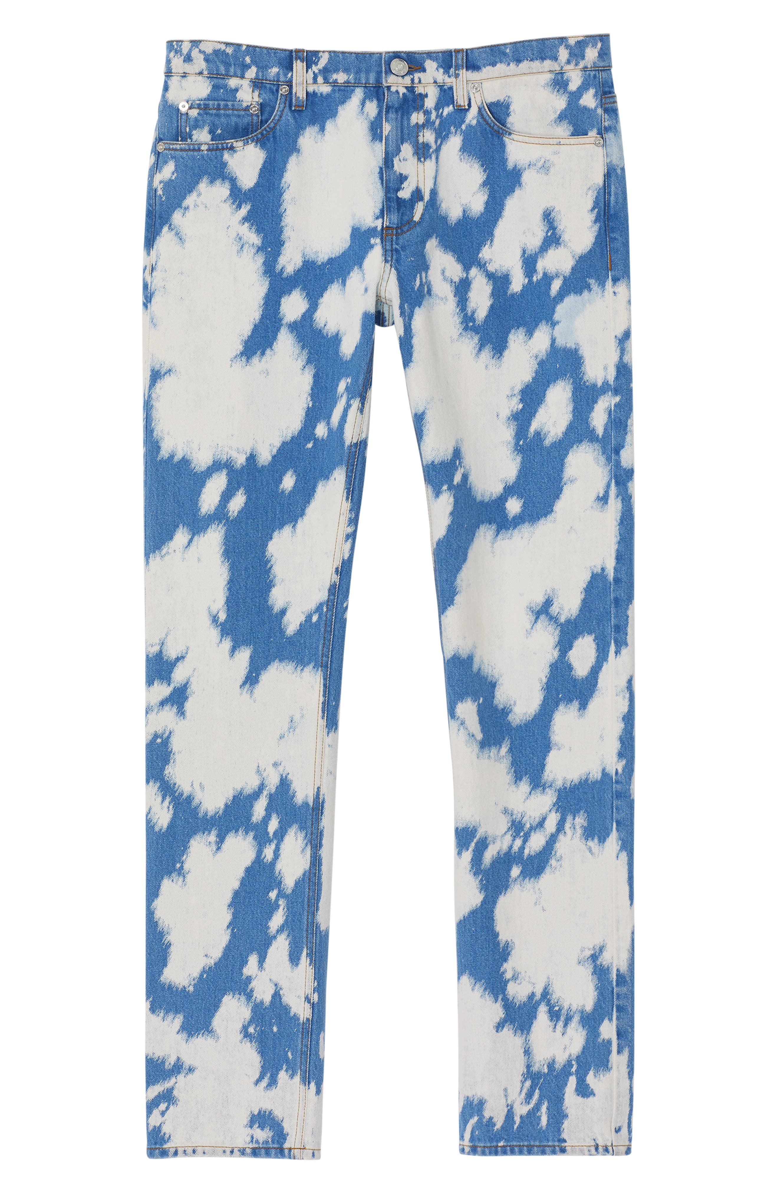 BURBERRY, Punk Bleached Straight Leg Jeans, Alternate thumbnail 5, color, LIGHT INDIGO