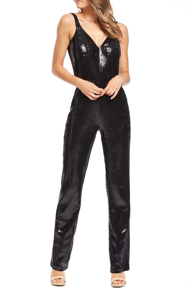 Dress The Population Suits LEE SEQUIN BUTTON BACK JUMPSUIT