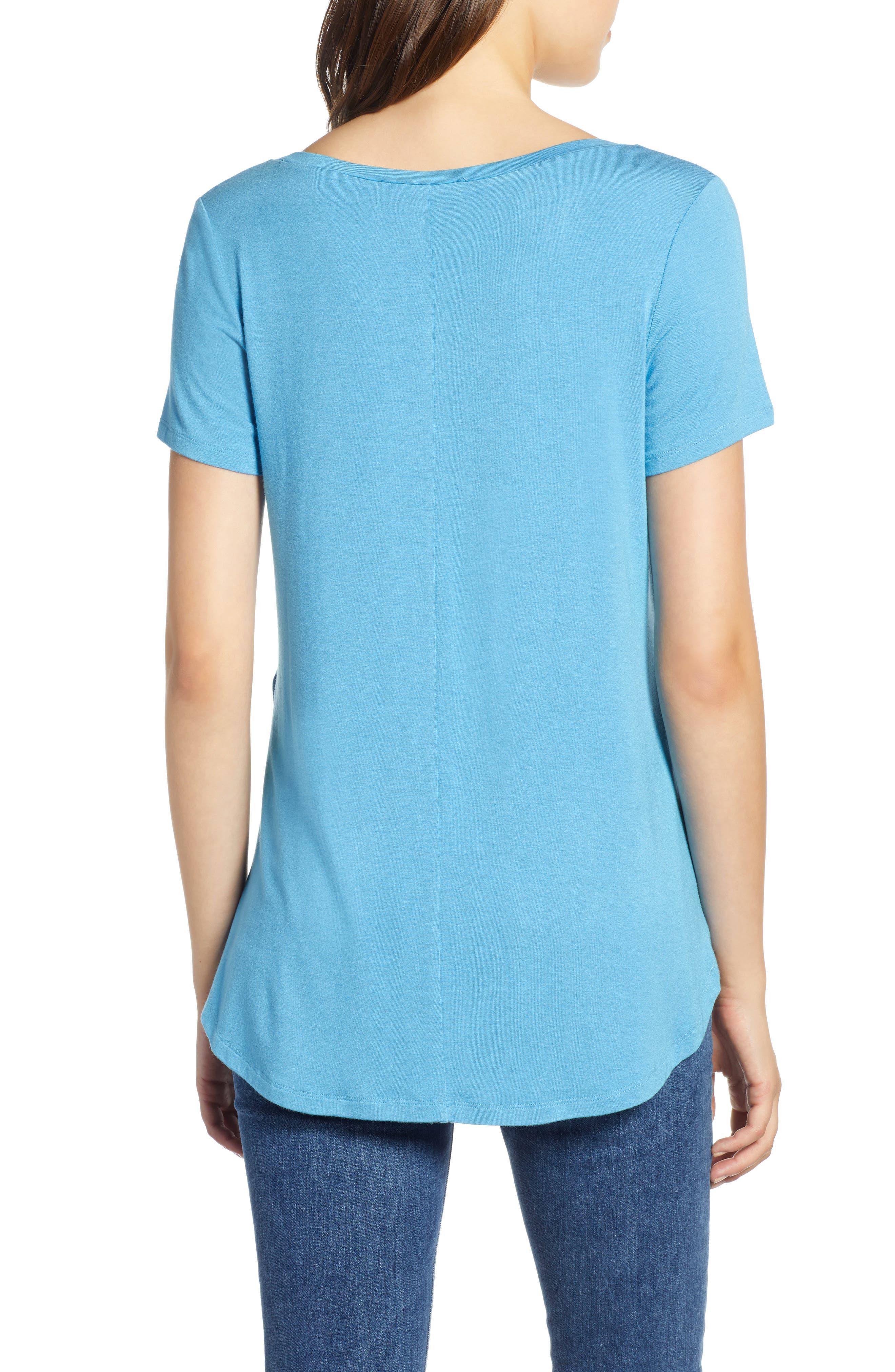 HALOGEN<SUP>®</SUP>, Short Sleeve Shirttail Tee, Alternate thumbnail 2, color, BLUE CENDRE