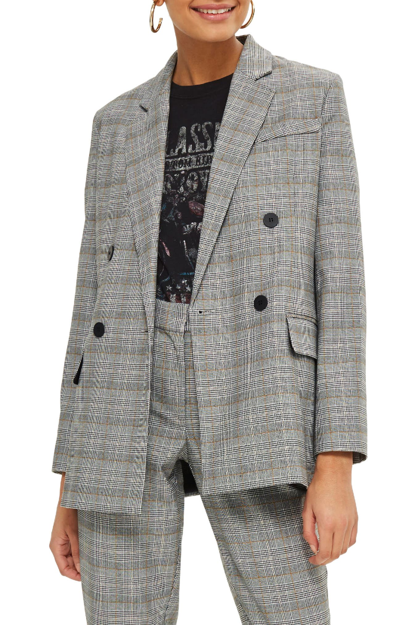 TOPSHOP, Double Breasted Check Jacket, Main thumbnail 1, color, 020