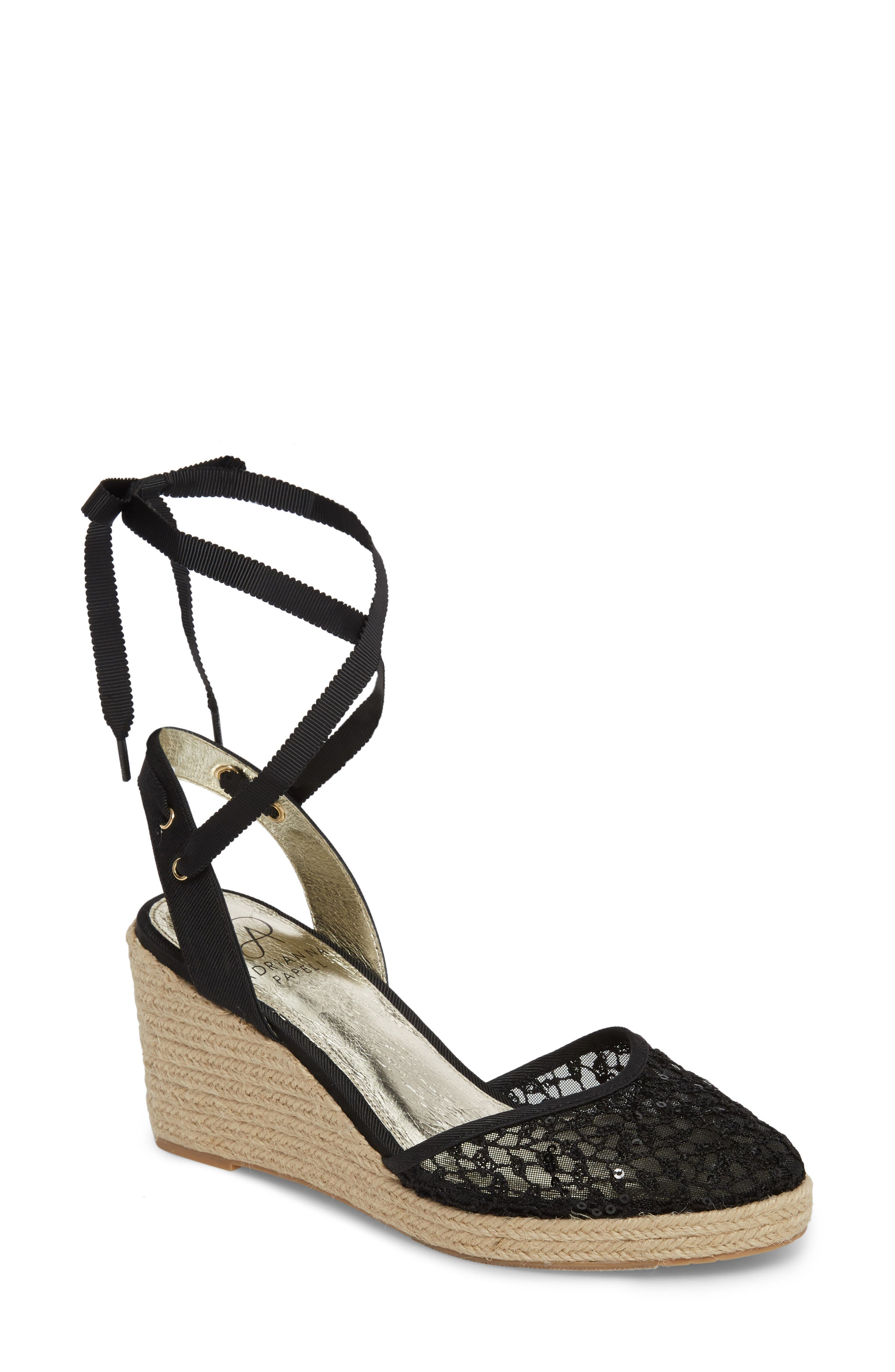 ADRIANNA PAPELL, Pamela Espadrille Wedge Sandal, Main thumbnail 1, color, BLACK LACE FABRIC