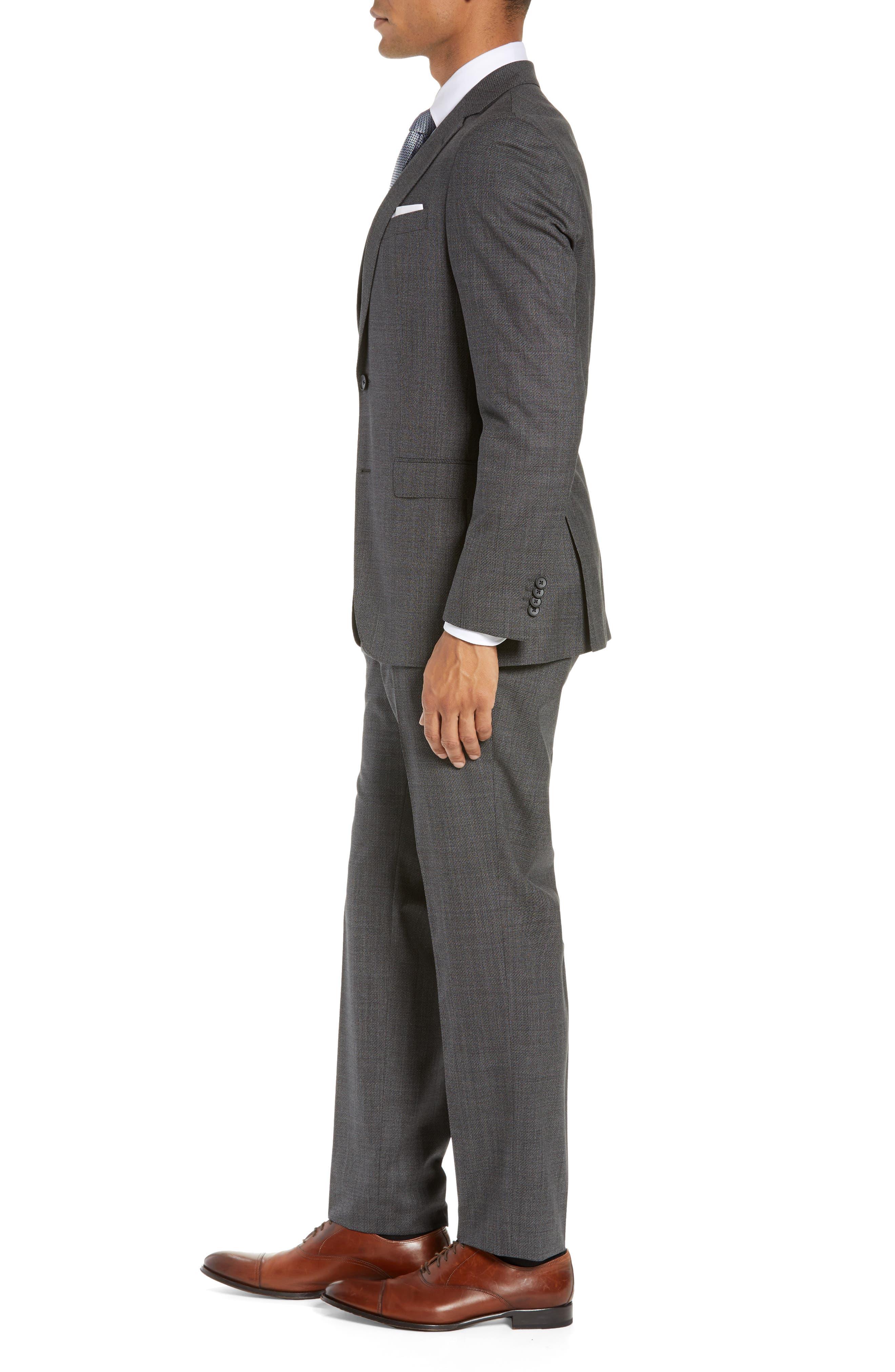 BOSS, Novan/Ben Slim Fit Solid Wool Suit, Alternate thumbnail 3, color, 063