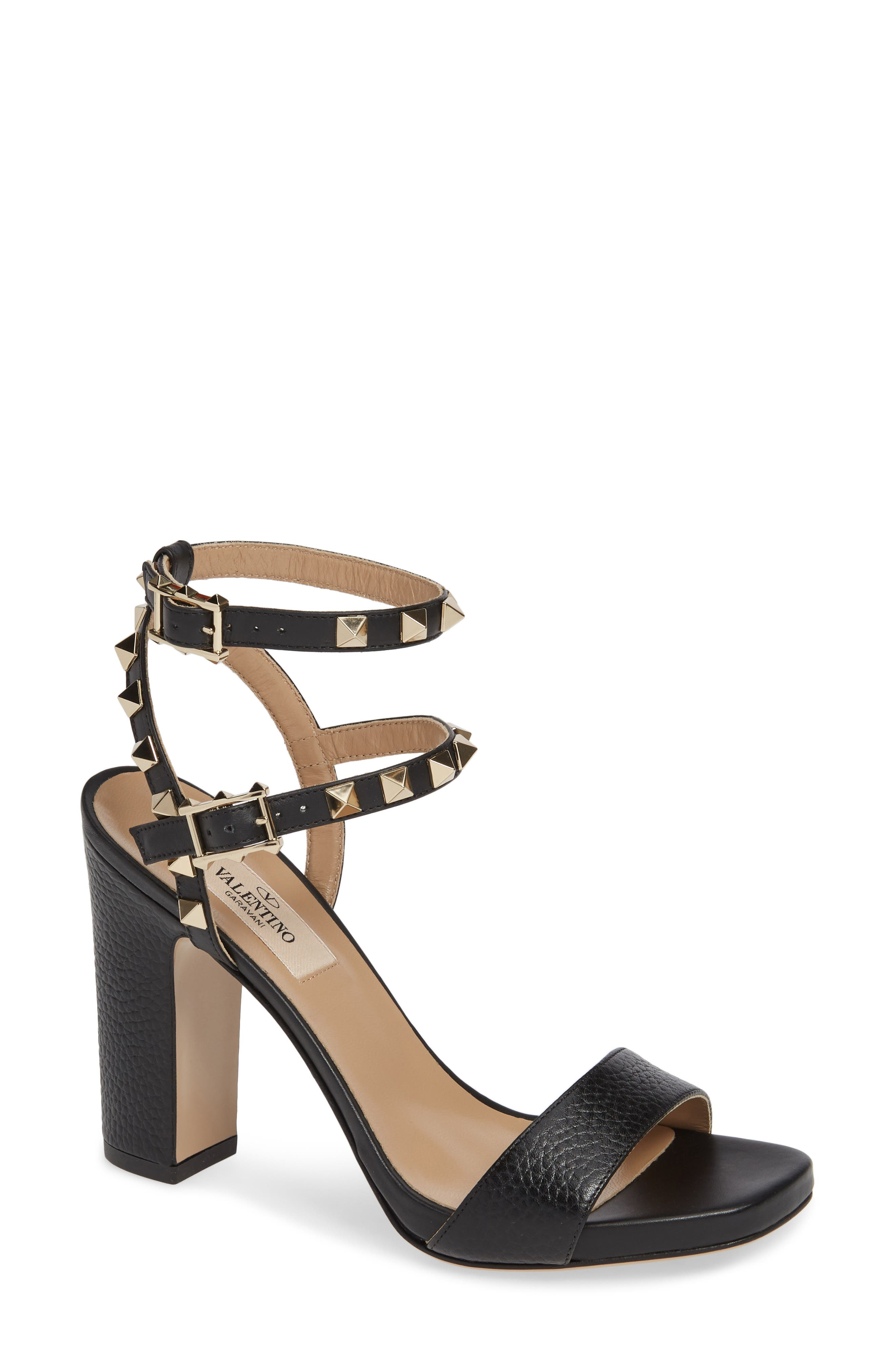 VALENTINO GARAVANI, Rockstud Ankle Strap Block Sandal, Main thumbnail 1, color, BLACK/ BLACK