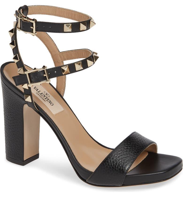 d598a689fb4 VALENTINO GARAVANI Rockstud Ankle Strap Block Sandal (Women)