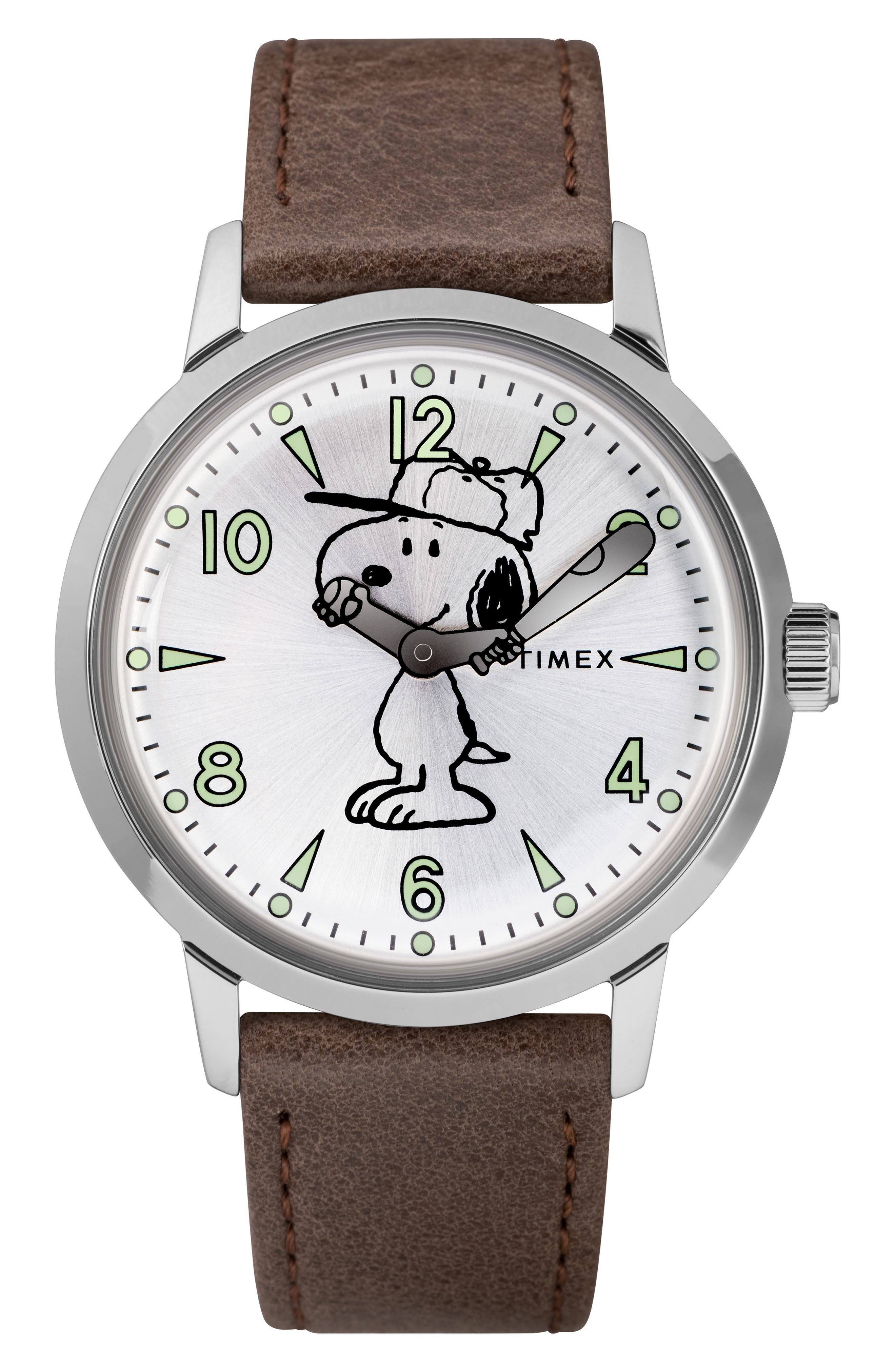 TIMEX<SUP>®</SUP>, x Peanuts<sup>®</sup> Welton Vintage Snoopy Leather Strap Watch, 40mm, Main thumbnail 1, color, BROWN/ SILVER