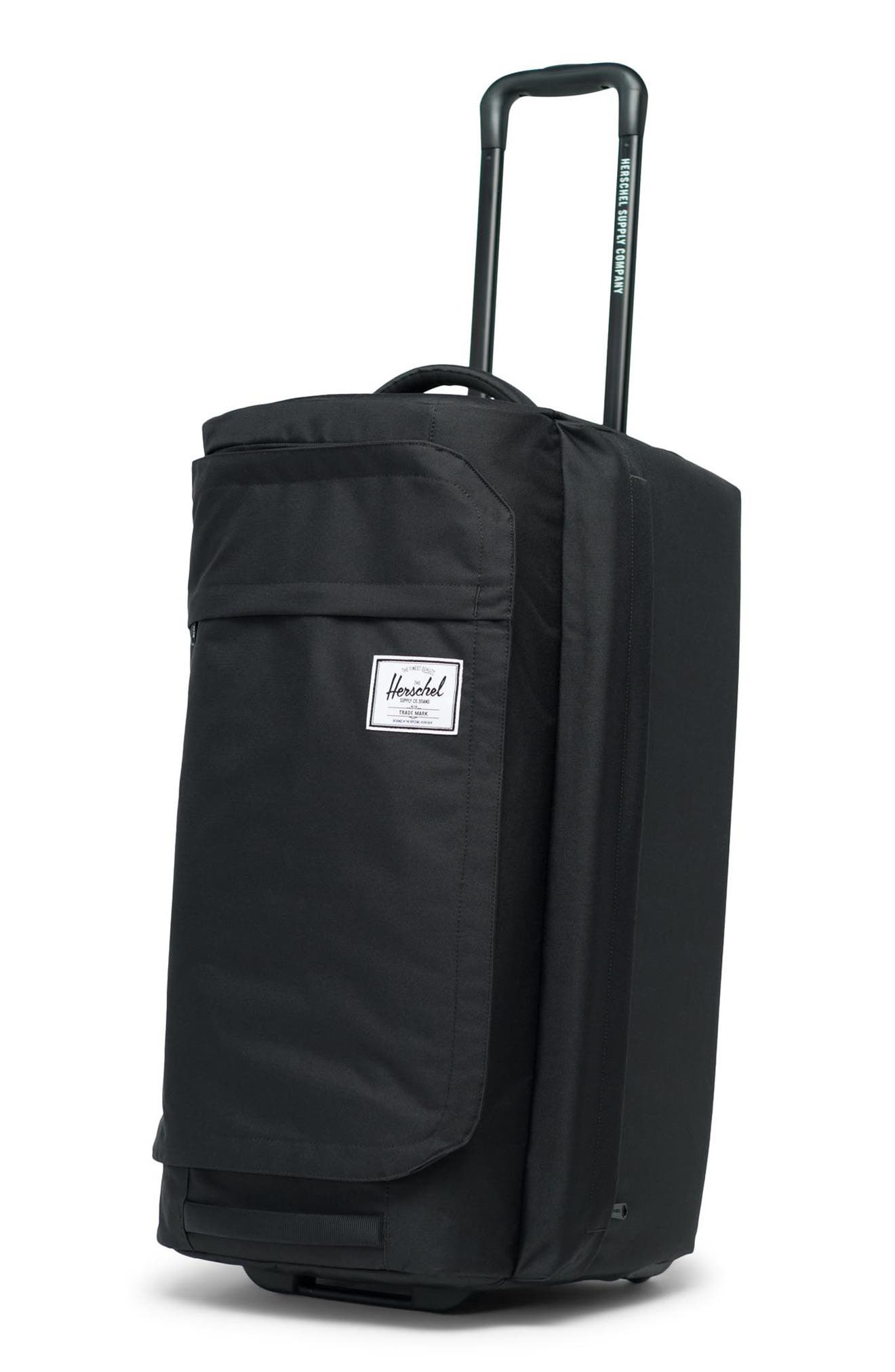HERSCHEL SUPPLY CO., Wheelie Outfitter 24-Inch Duffle Bag, Alternate thumbnail 4, color, BLACK