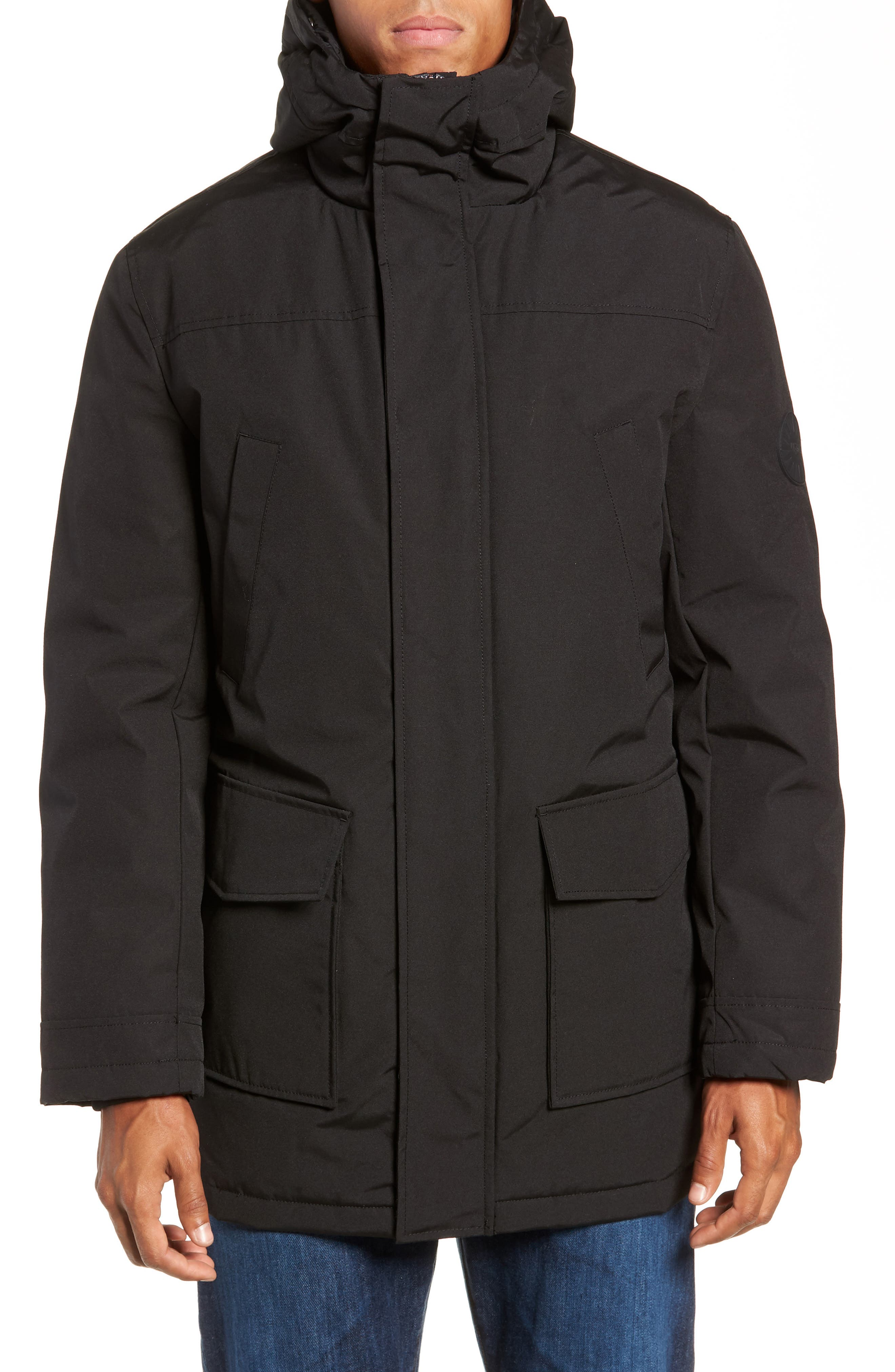 UGG<SUP>®</SUP>, Butte Water-Resistant Down Parka with Genuine Shearling Trim, Alternate thumbnail 6, color, 001