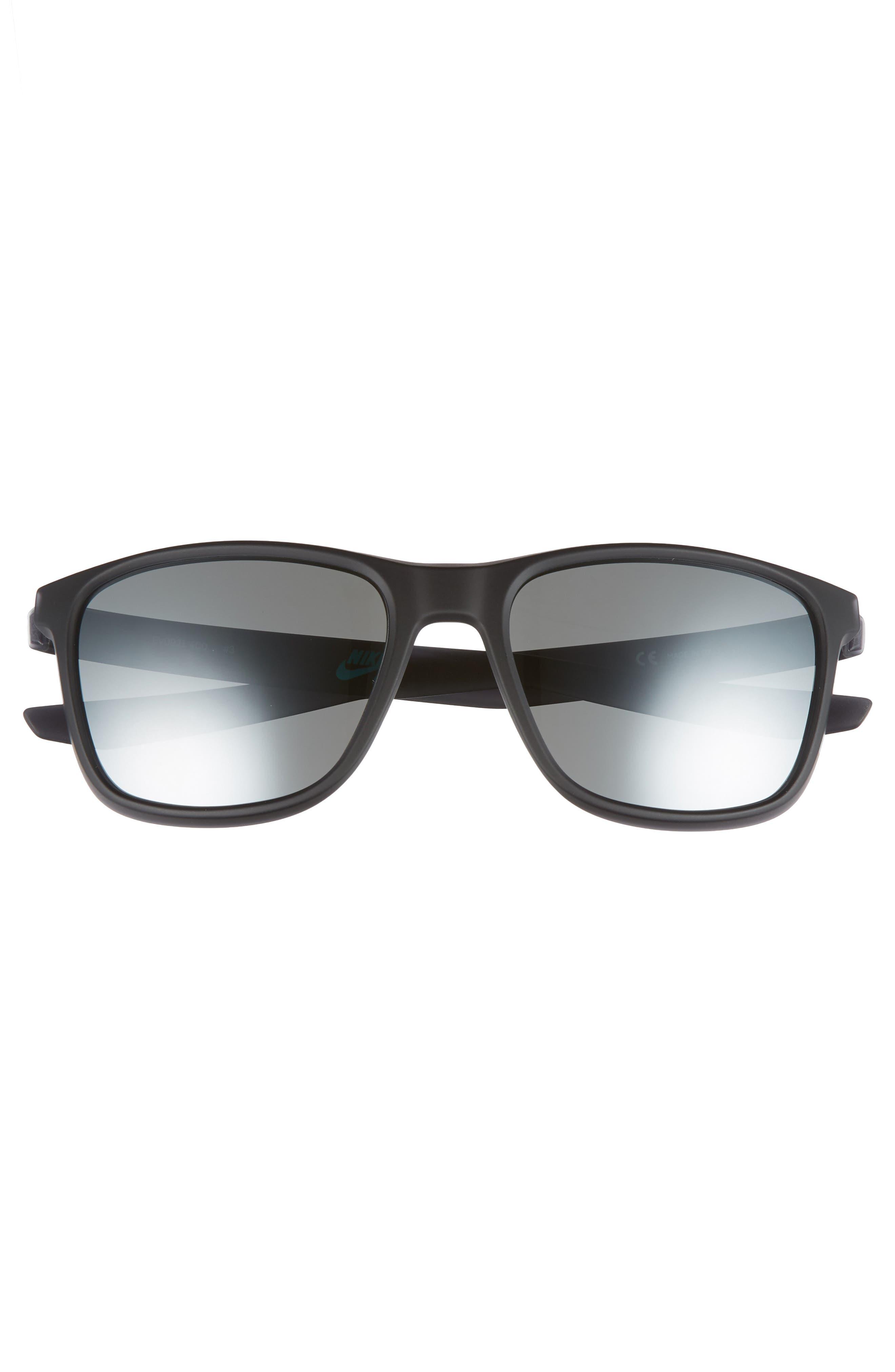 NIKE, Unrest 57mm Sunglasses, Alternate thumbnail 3, color, MATTE OBSIDIAN/ GREY SILVER
