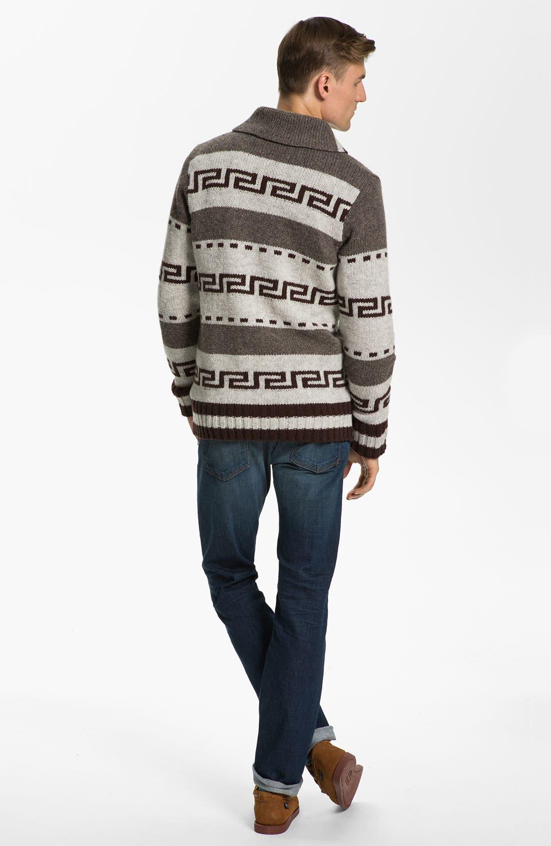 NUDIE JEANS, Nudie 'Lenny Elk' Shawl Collar Zip Sweater, Alternate thumbnail 4, color, 020